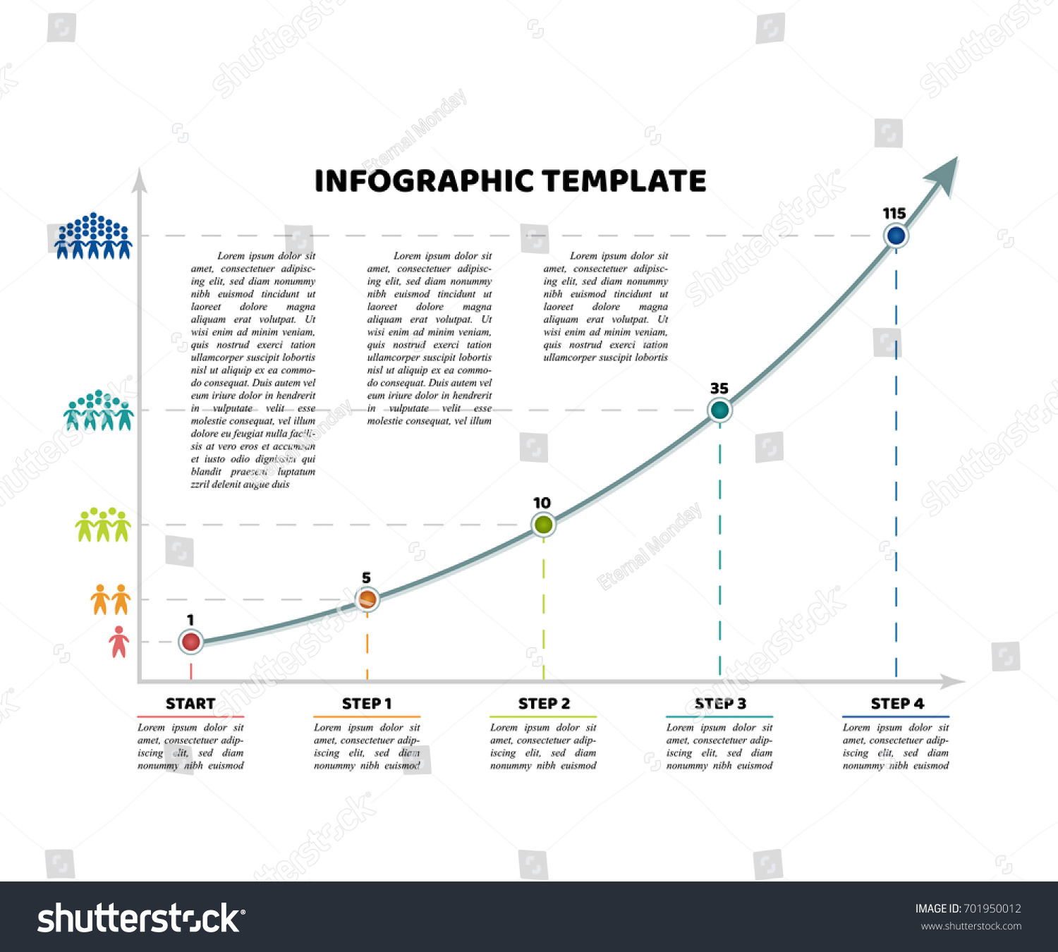 Timeline infographic template 4 dot steps stock vector 701950012 timeline infographic template with 4 dot steps and starting point growth curve chart with sample nvjuhfo Choice Image