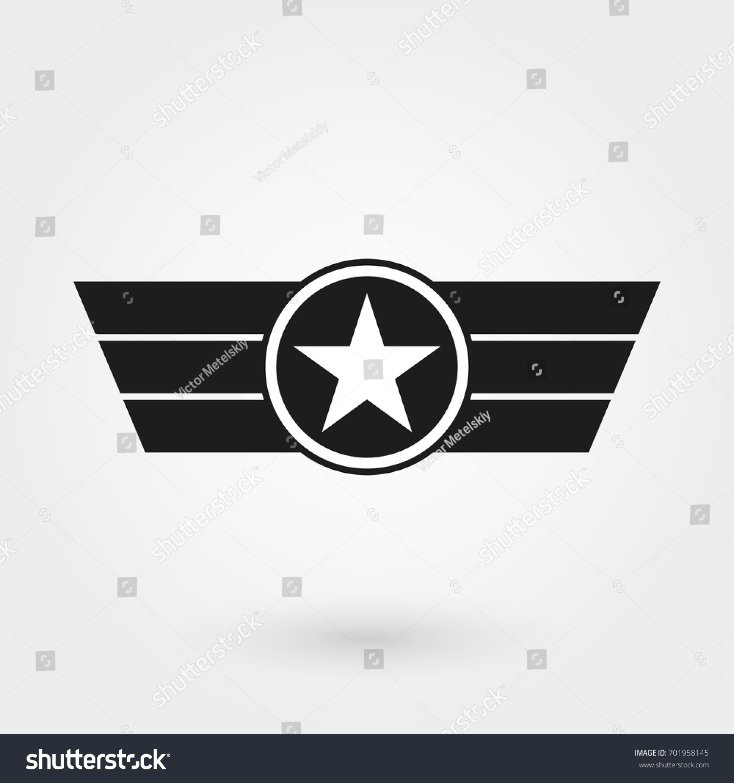 Wings Shield Icon Military Army Badge Stock Vector Royalty Free
