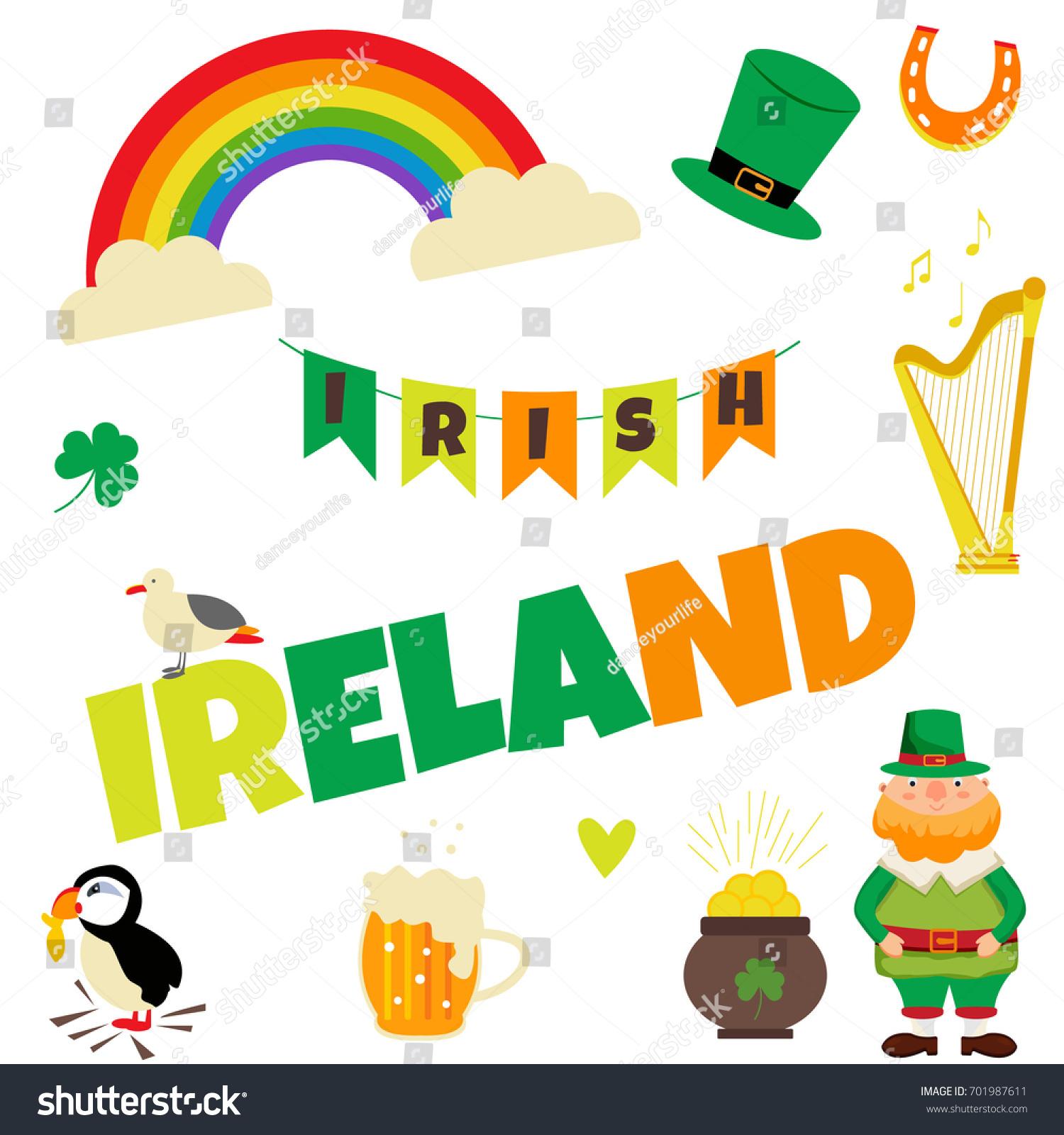 Trip Ireland Dublin Set Illustrations Irish Stock Vector Royalty