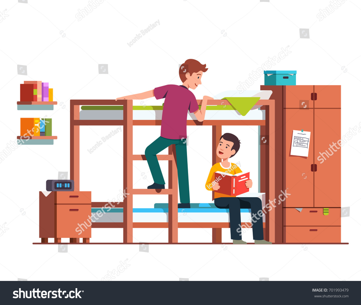 Student Boy Climbing Bunk Bed Ladder Stock Vector 701993479 ... for Student Climbing Ladder  268zmd