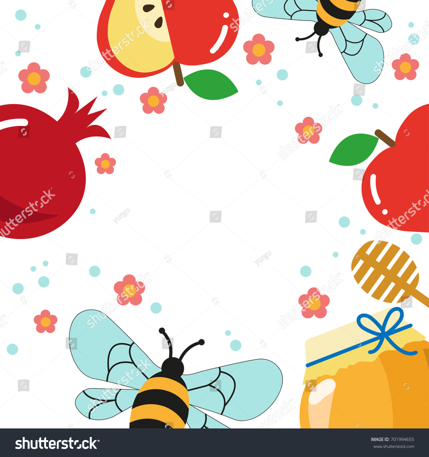 rosh hashana poster pomegranate apple honey bees flowers jewish new