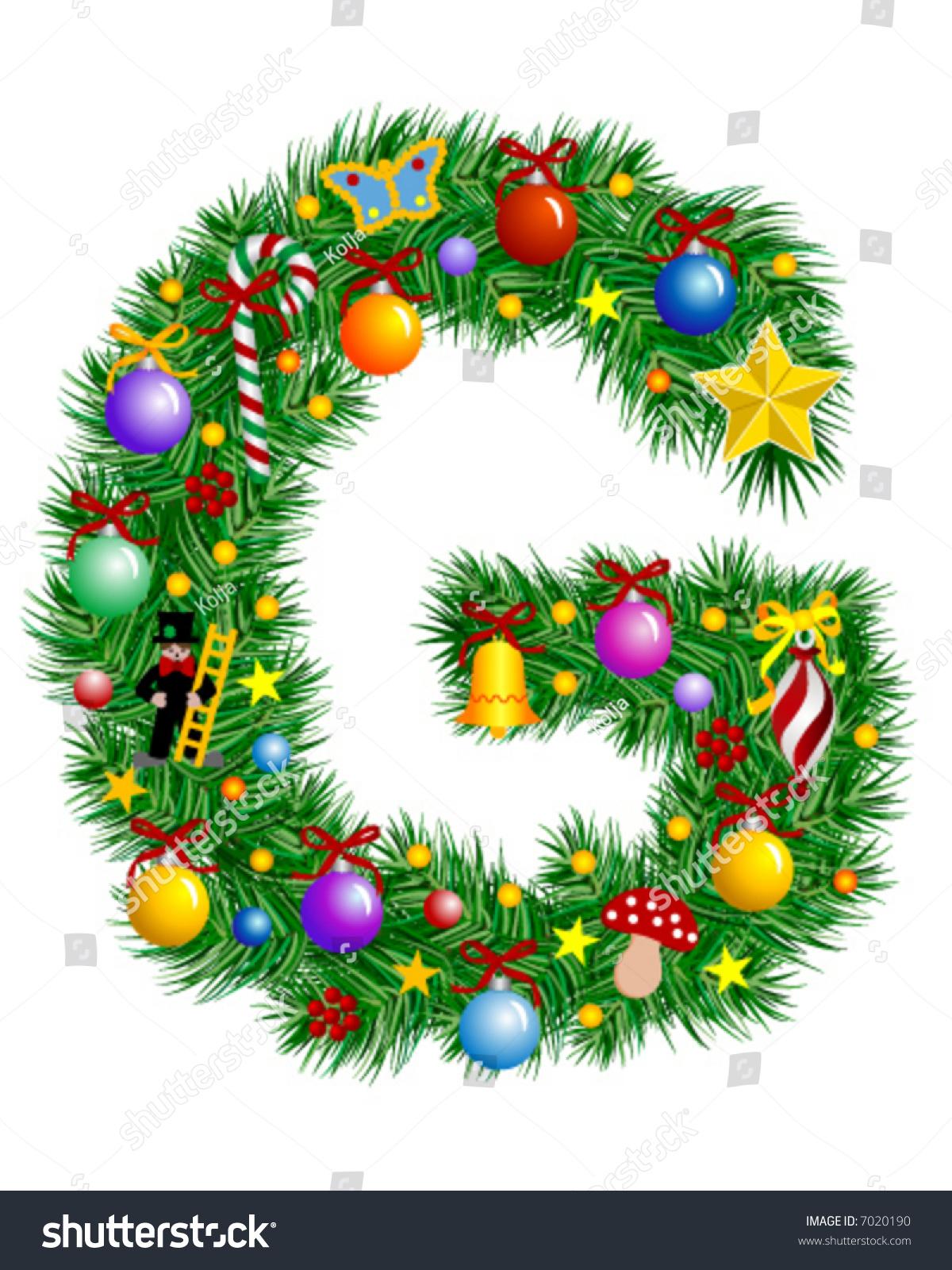 letter g christmas tree decoration alphabet stock vector 7020190