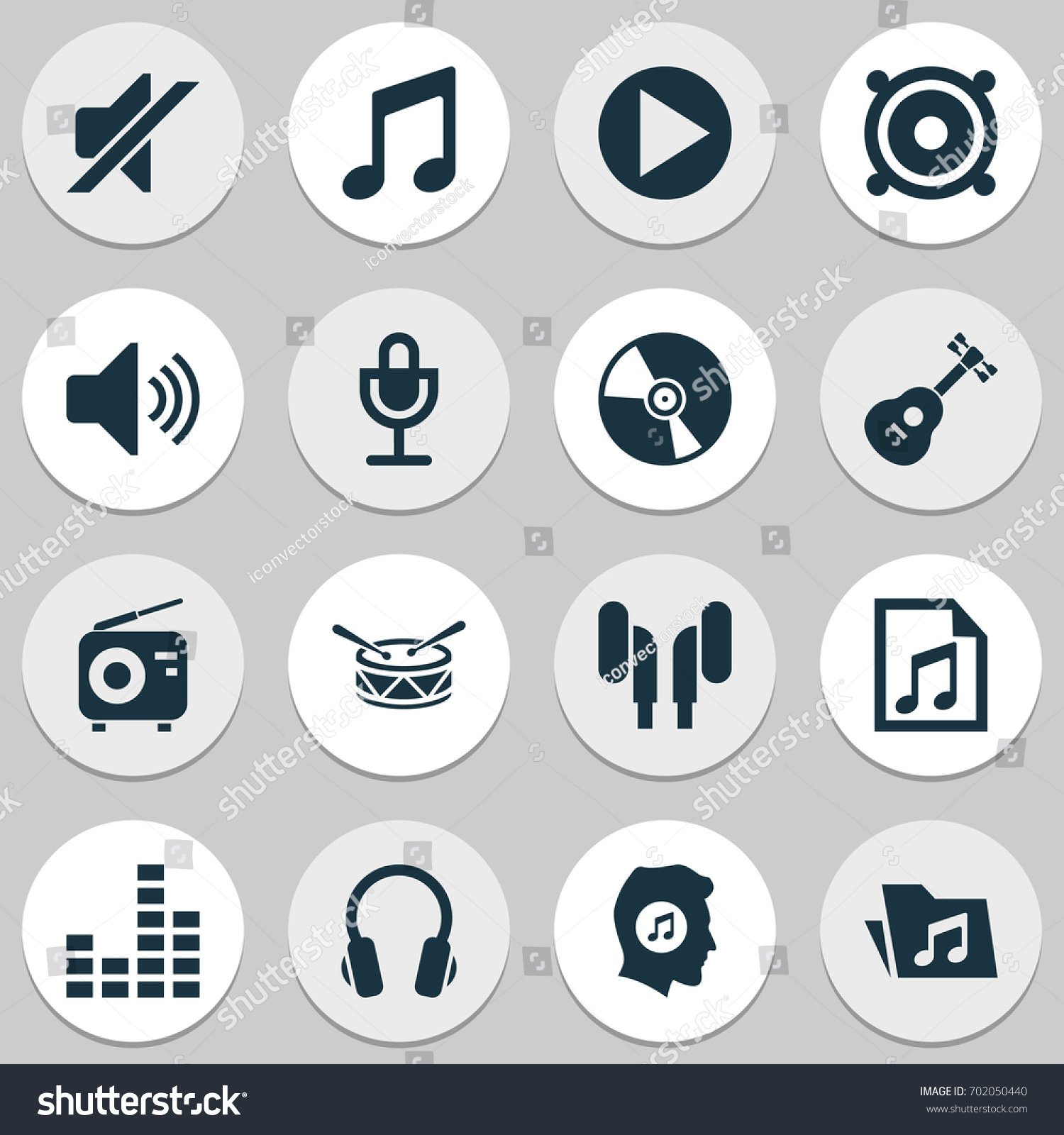 Multimedia icons set collection tuner music stock vector 702050440 collection of tuner music silence and other elements also biocorpaavc Image collections