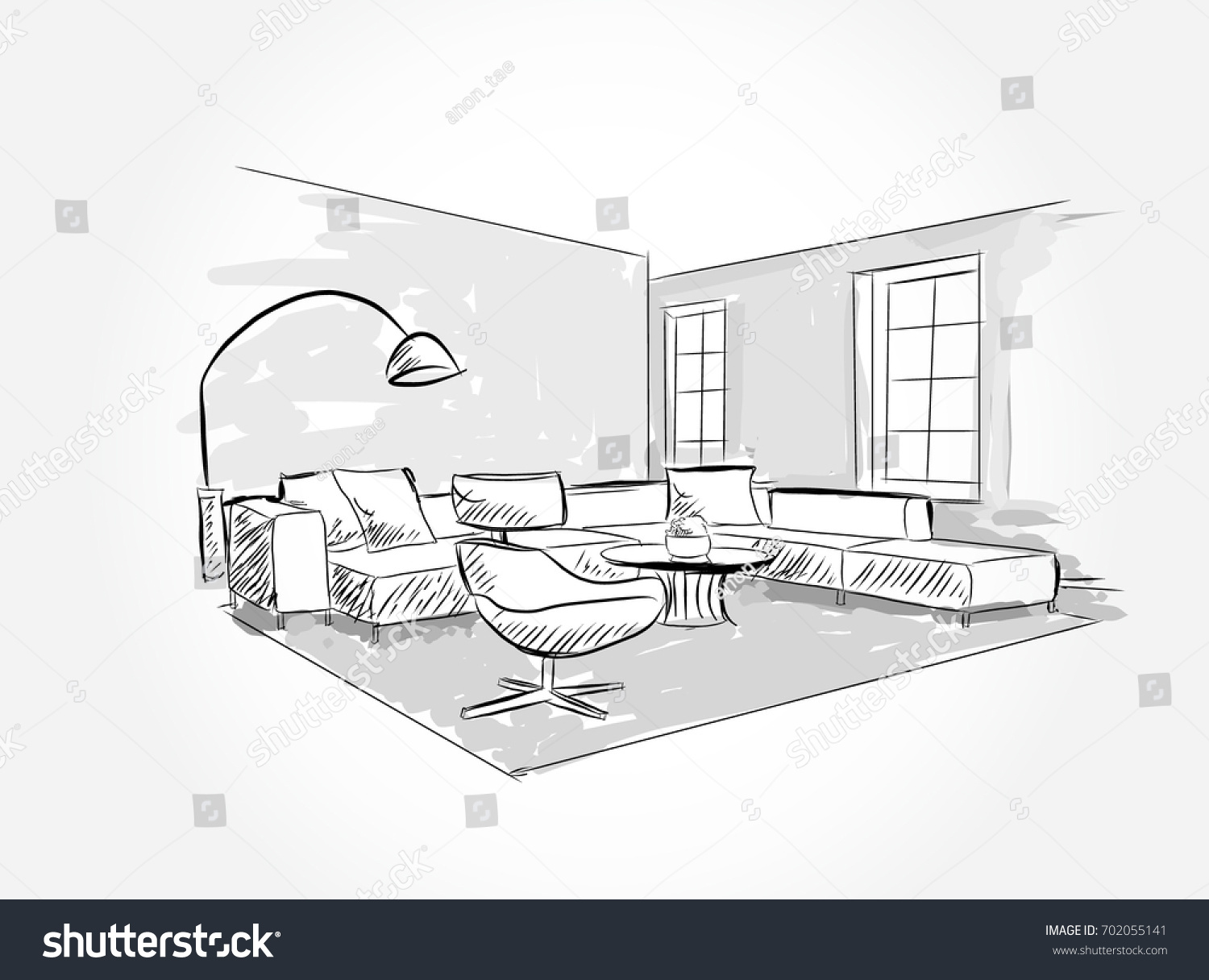 Linear Sketch Interior Living Room Plan Stock Vector 702055141 ...
