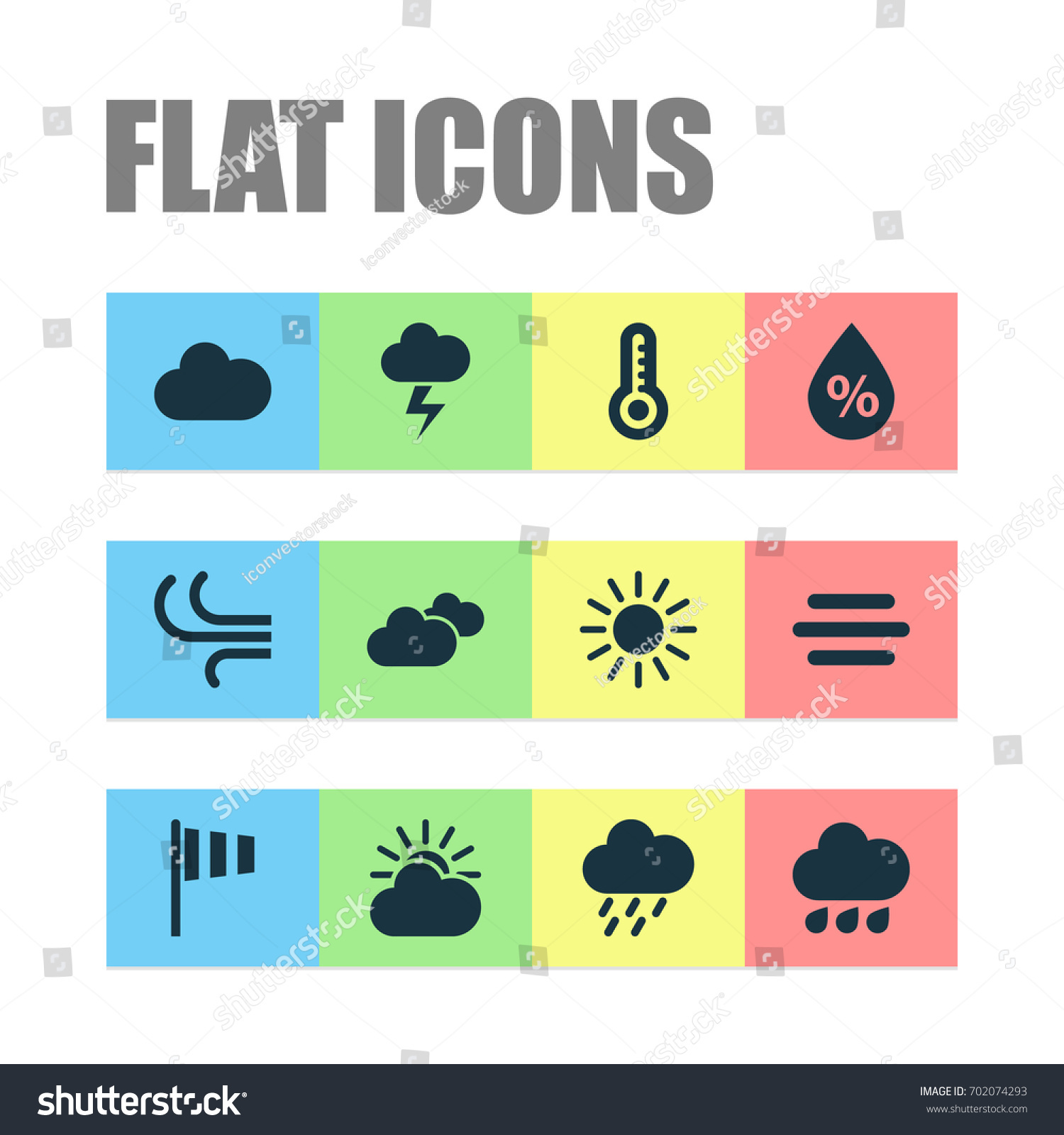 Air Icons Set Collection Haze Rainy Stock Vector 702074293