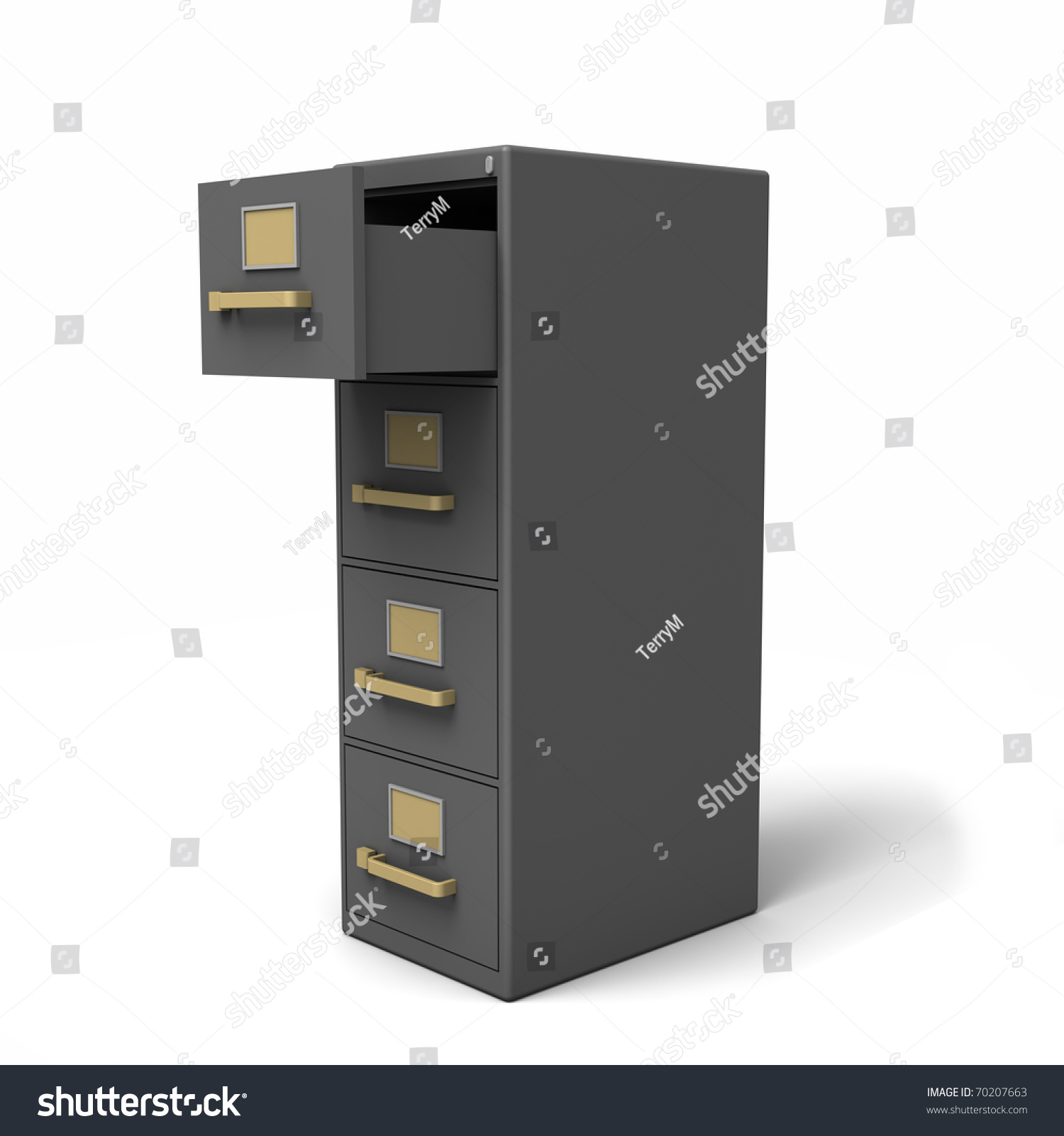 open file cabinet. A Four Drawer File Cabinet With Top Open. Isolated On White Open