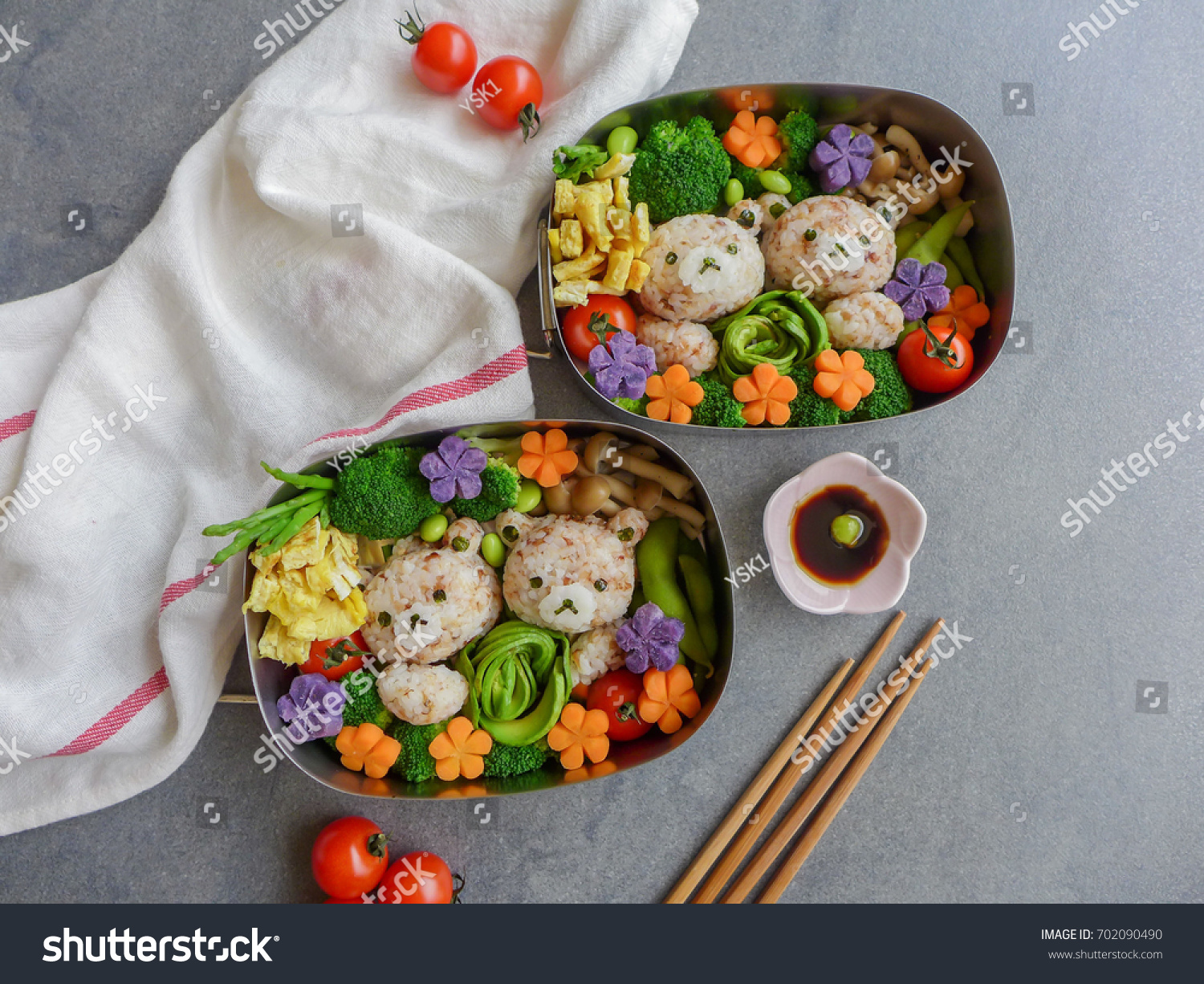 delicious homemade vegetarian meal animatedshaped food stock photo