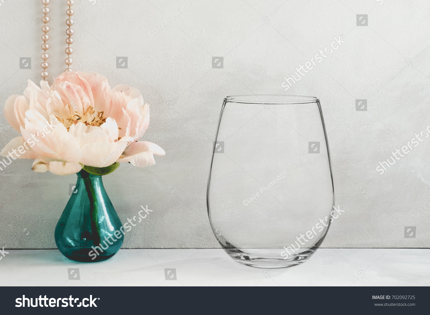 Floral Mockup Stemless Wine Glass Perfect Stock Photo - Wine glass custom vinyl stickers