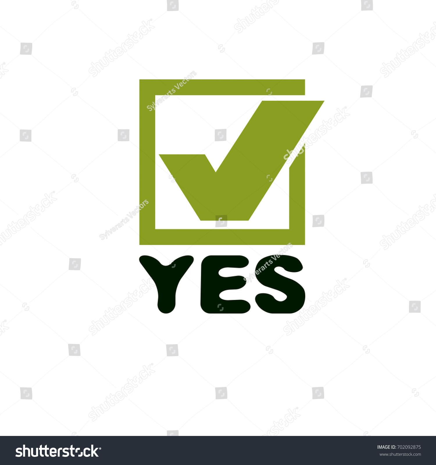 Green Checkbox Yes Word Confirmation Symbol Stock Illustration