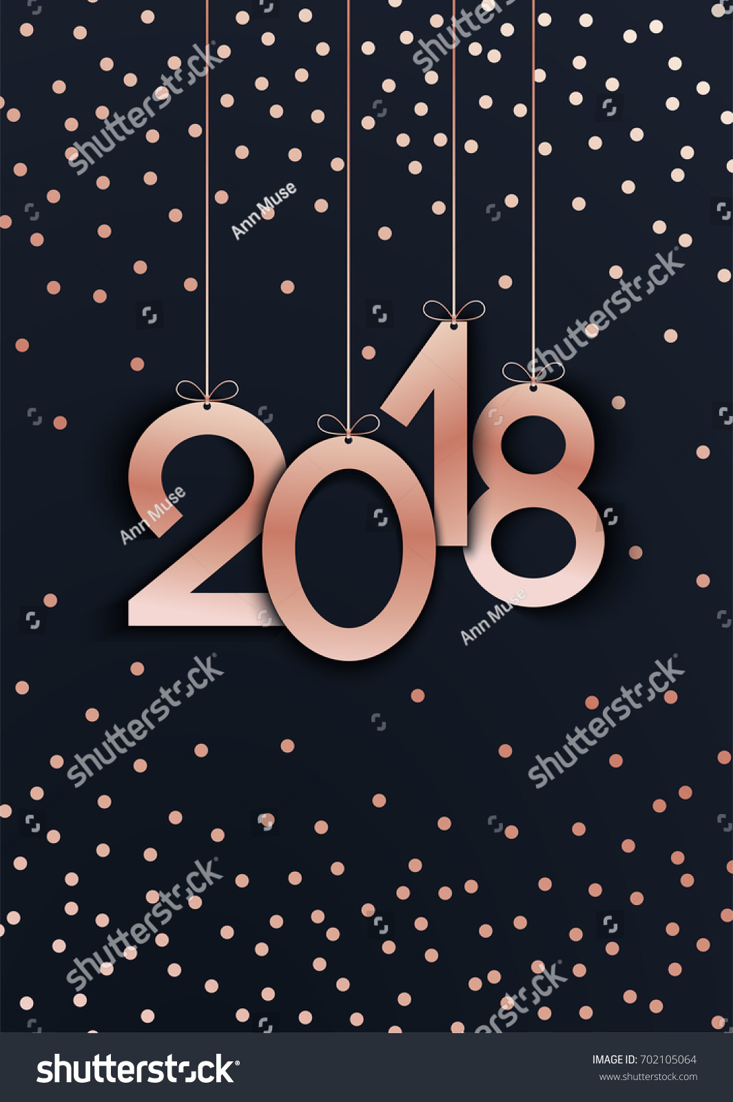 2018 happy new year rose gold number vector template background
