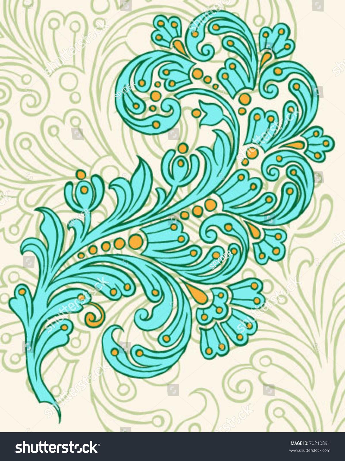 Hand Drawn Vector Paisley Design Stock Vector 70210891 - Shutterstock