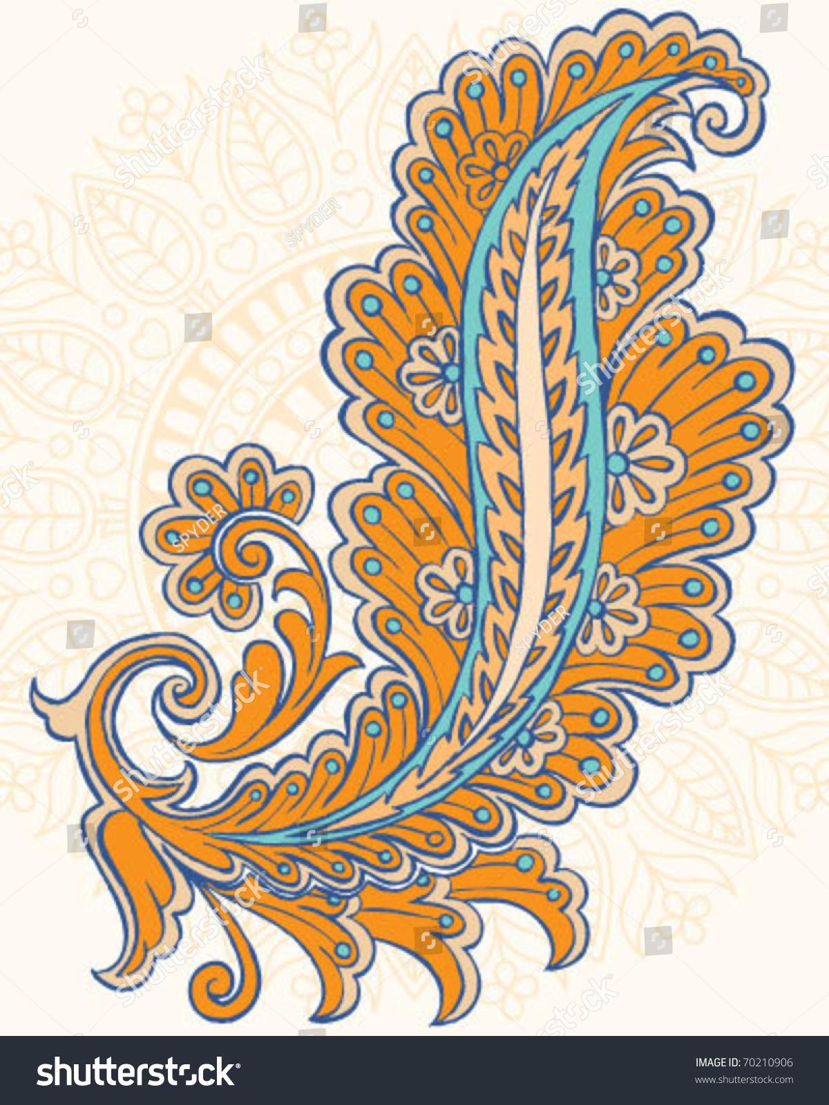 Hand Drawn Vector Paisley Design Stock Vector 70210906 - Shutterstock