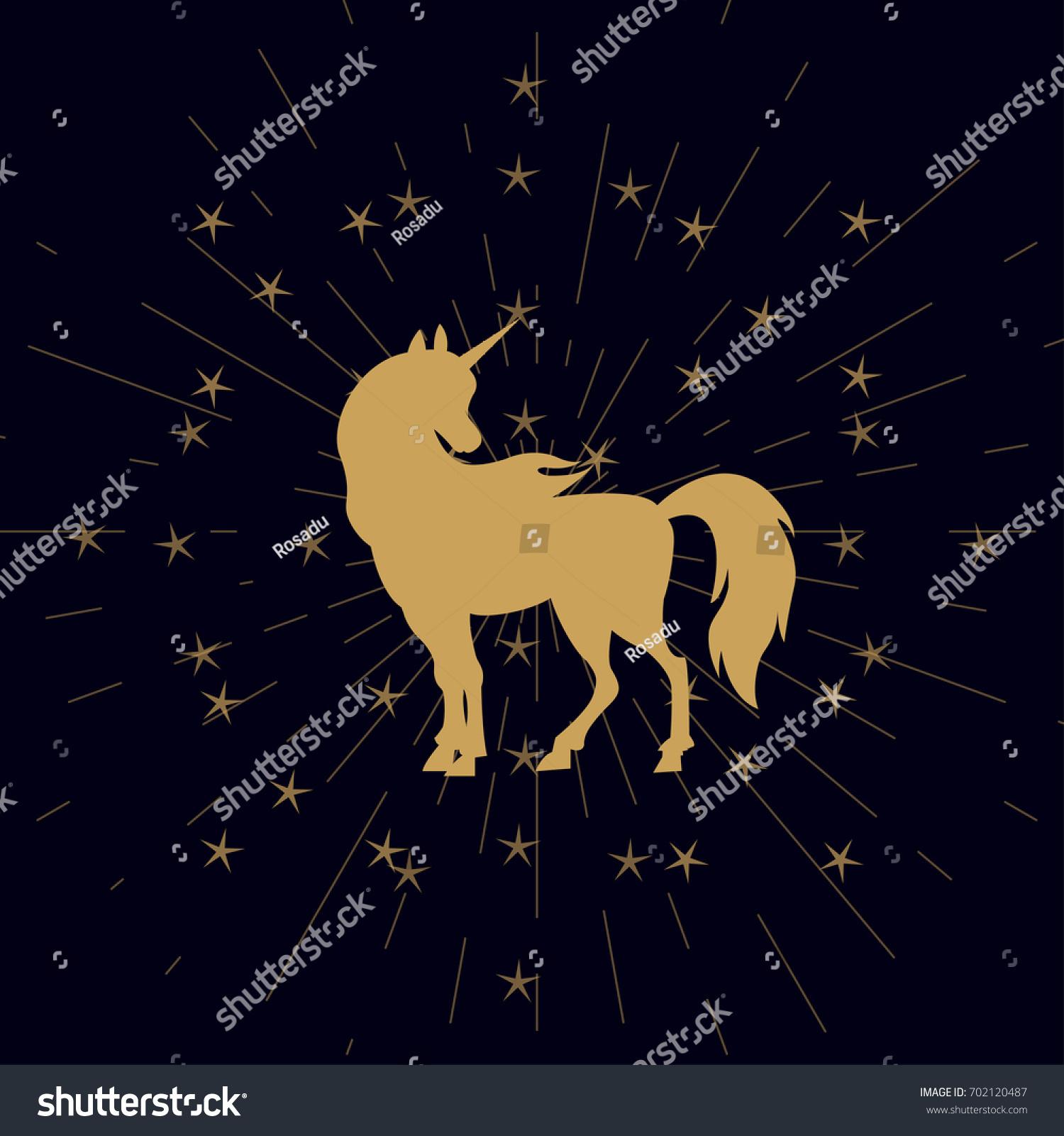 Unicorn Silhouette Stars Sunburst Effect Golden Stock Vector