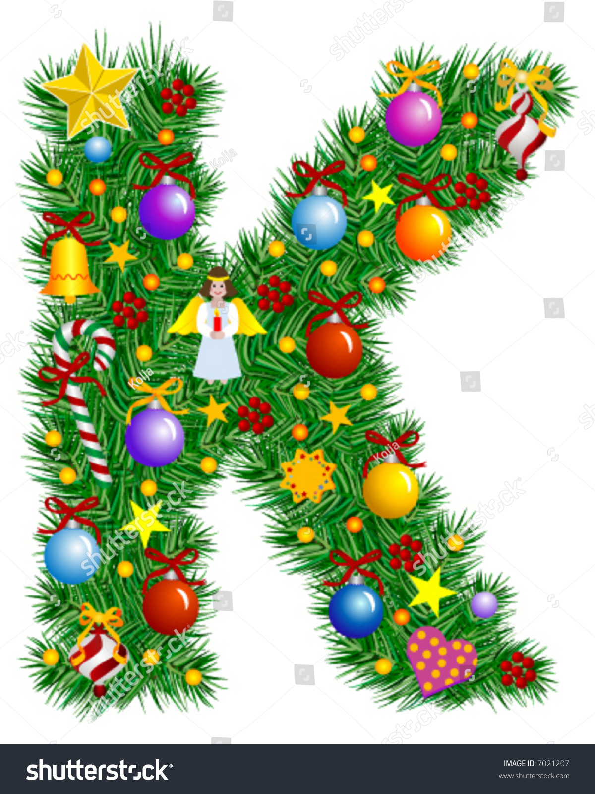 Letter k christmas tree decoration alphabet stock vector for Christmas tree letters