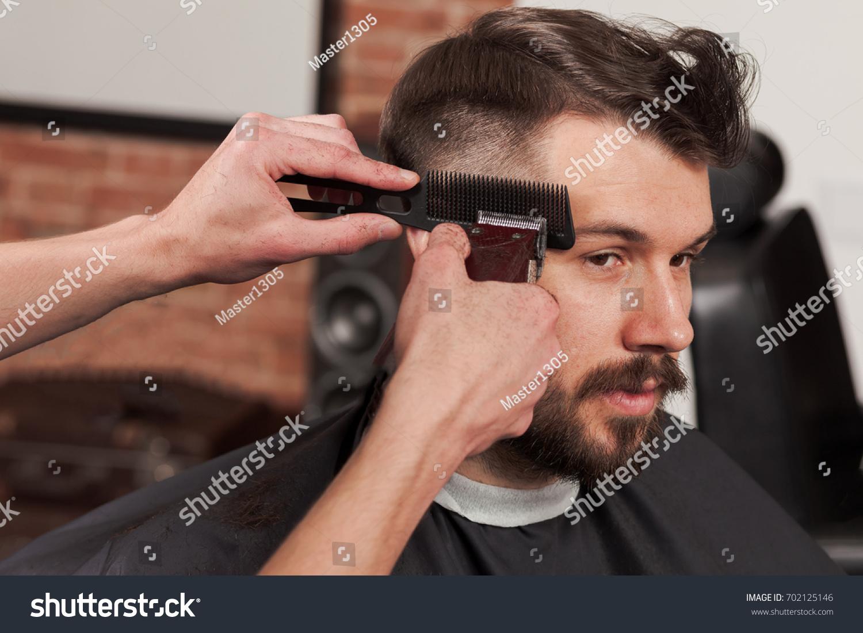Hands Barber Making Haircut Young Man Stock Photo Royalty Free