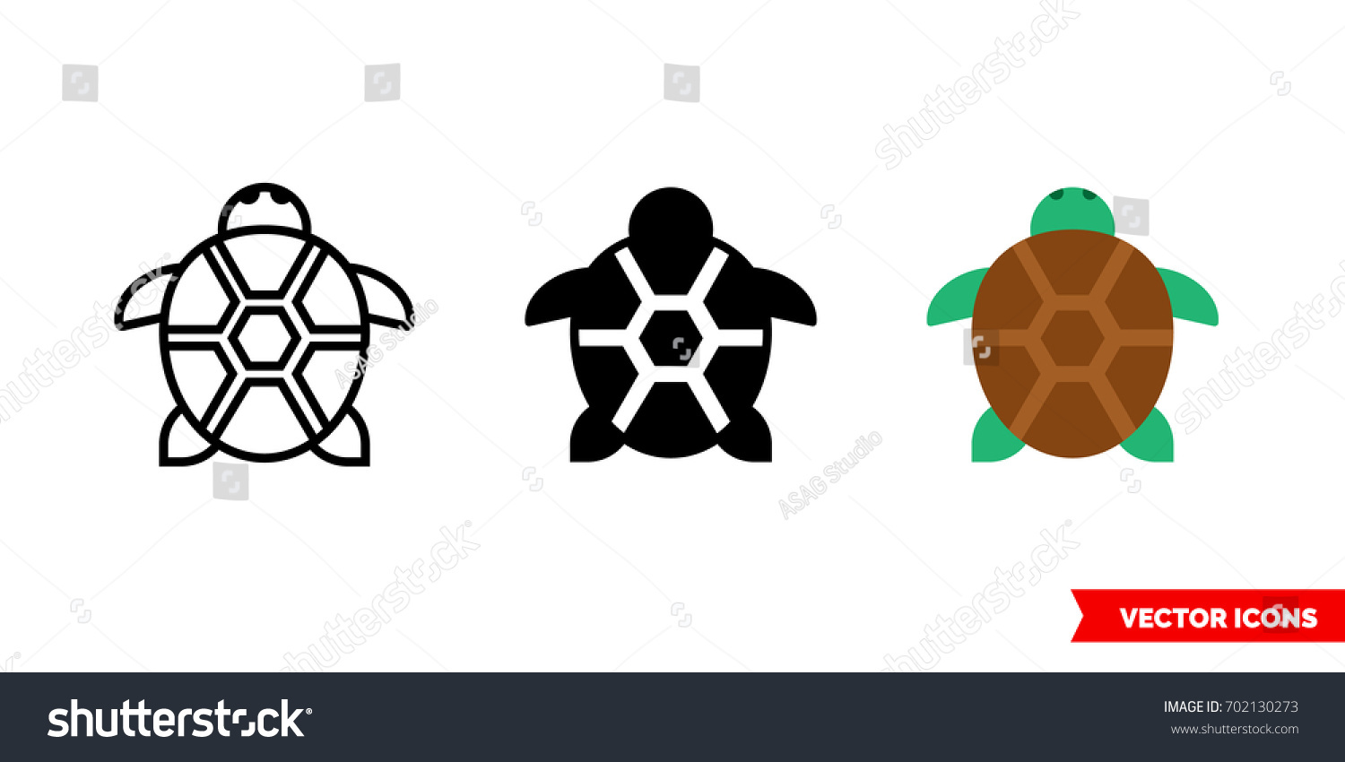 turtle icon 3 types color black stock vector 702130273 shutterstock