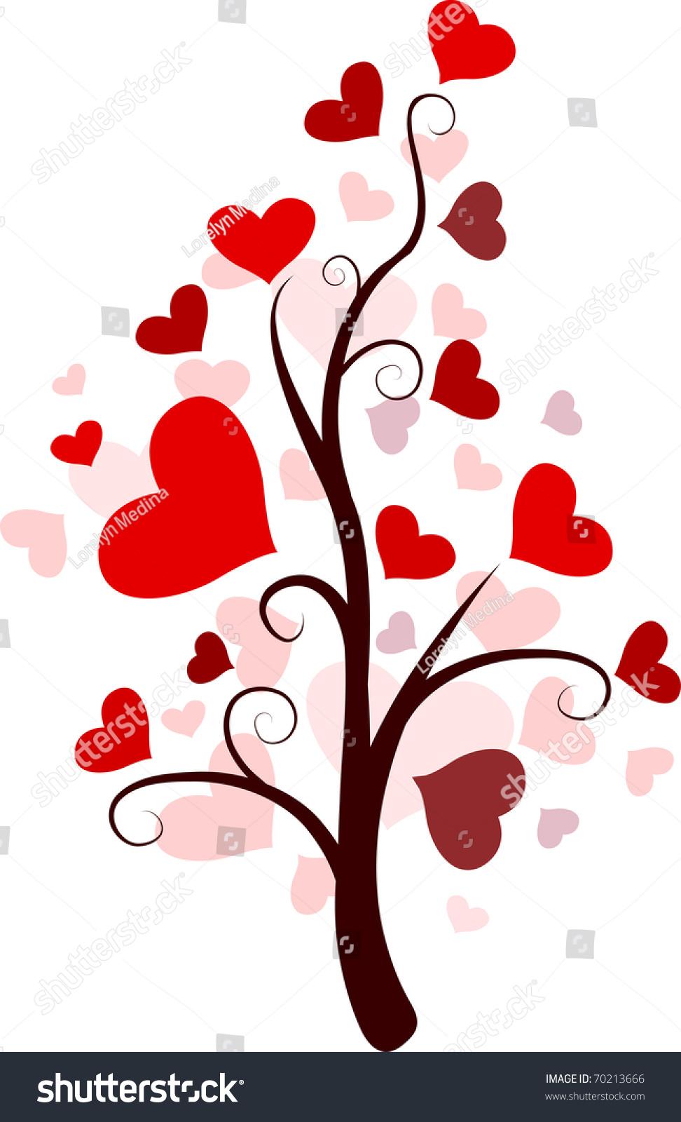 Illustration Random Tree Heartshaped Leaves Stock Vector Royalty