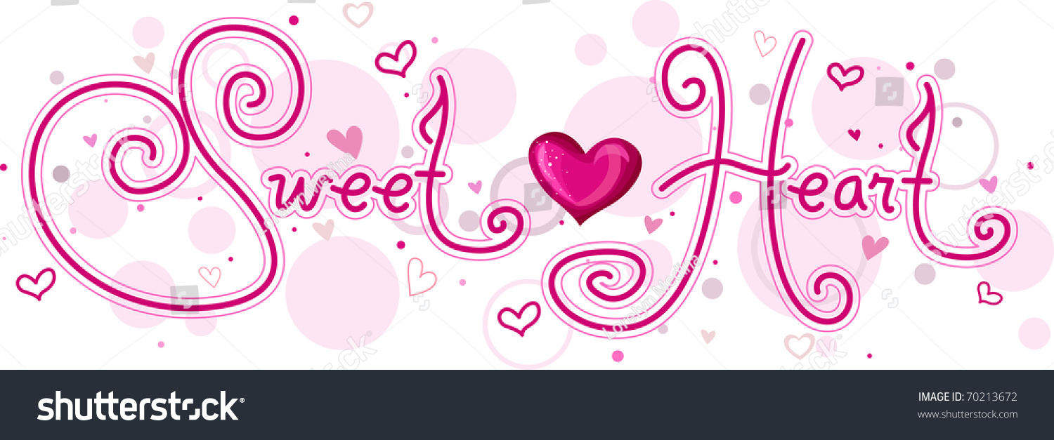 cute lettering featuring word sweetheart stock vector royalty free