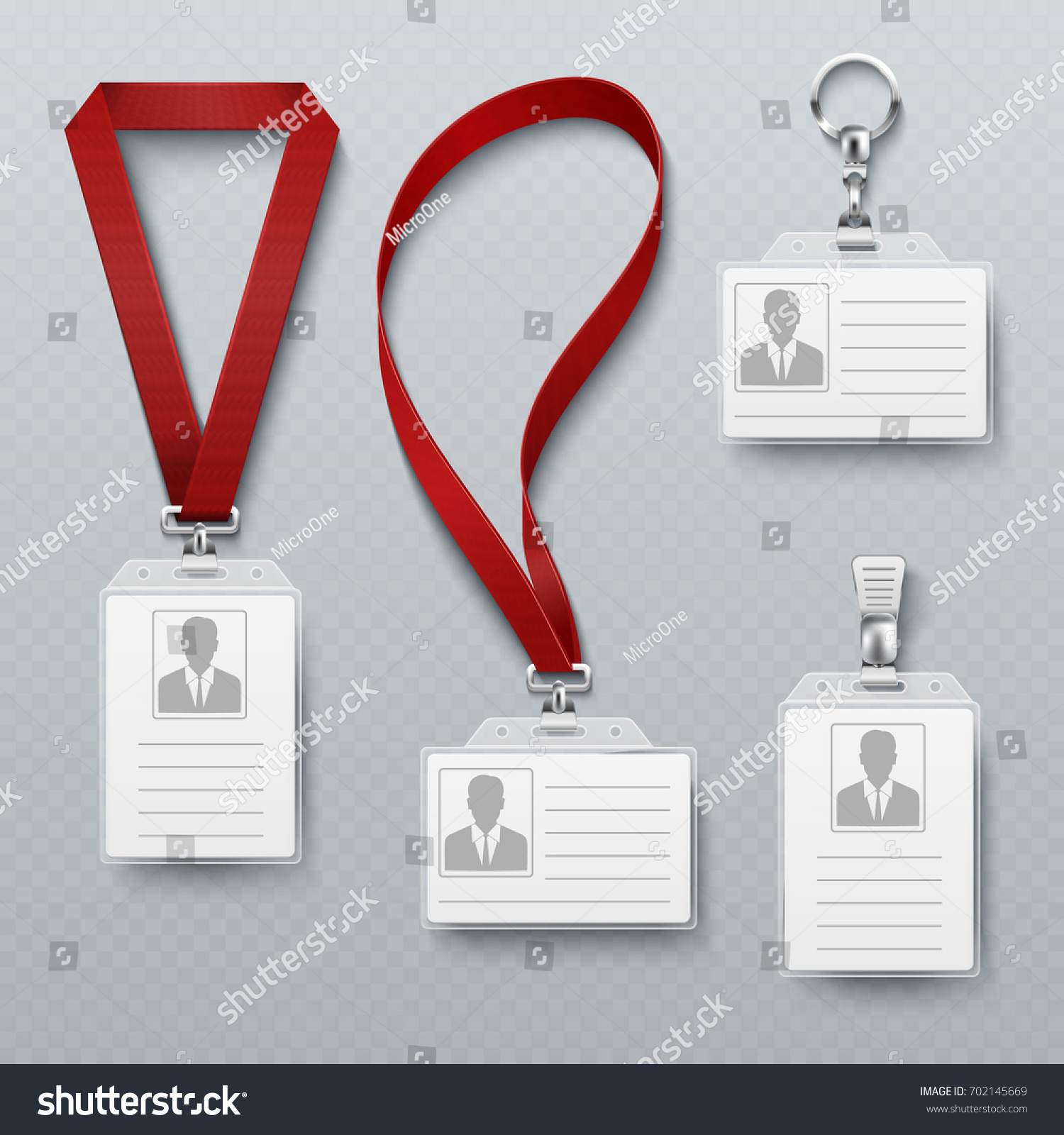 Id Security Cards Identification Badge Lanyard Stock Vector ...