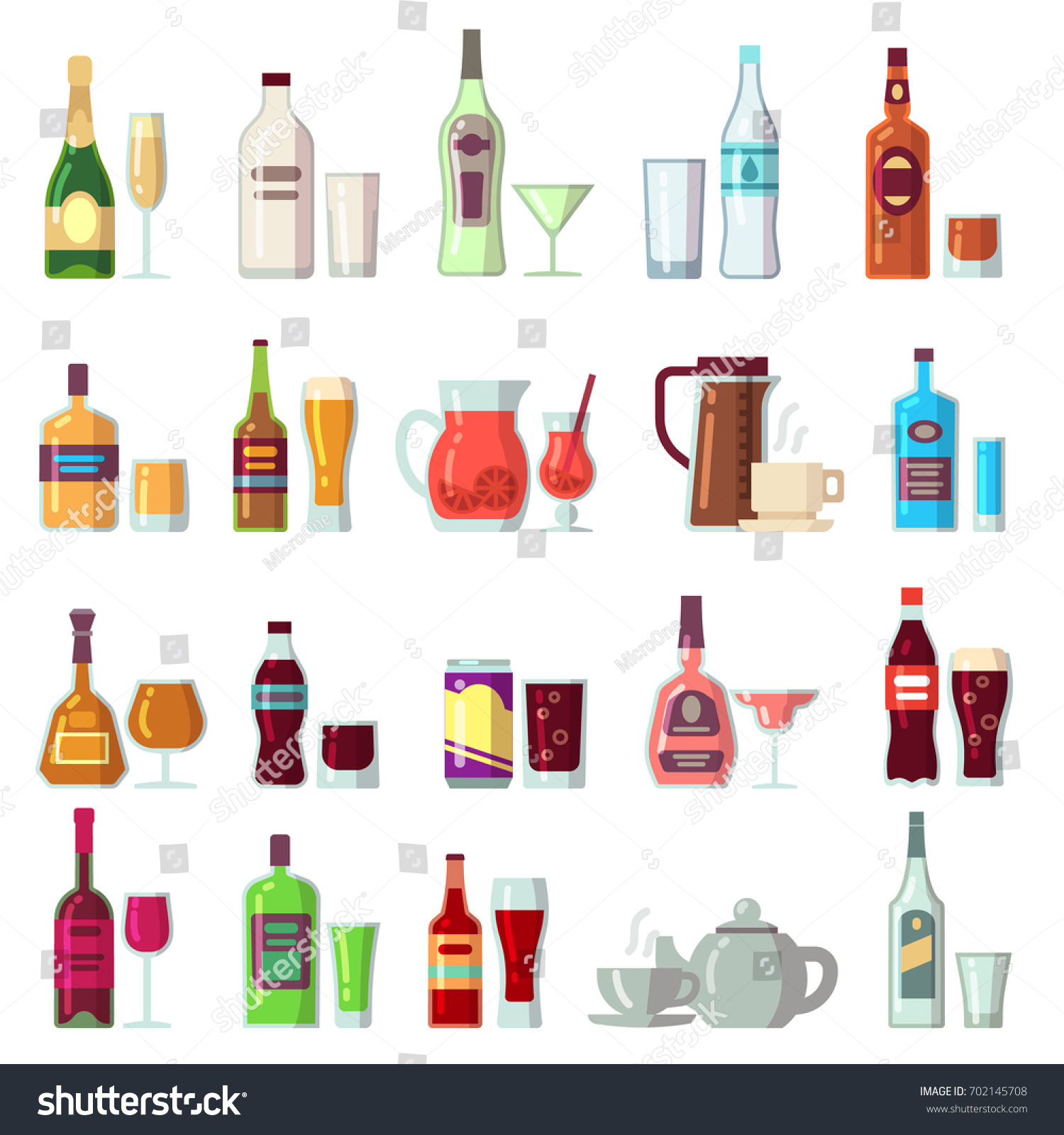 Alcoholic Soft Drinks Beverages Glass Bottles Stock Vector ...