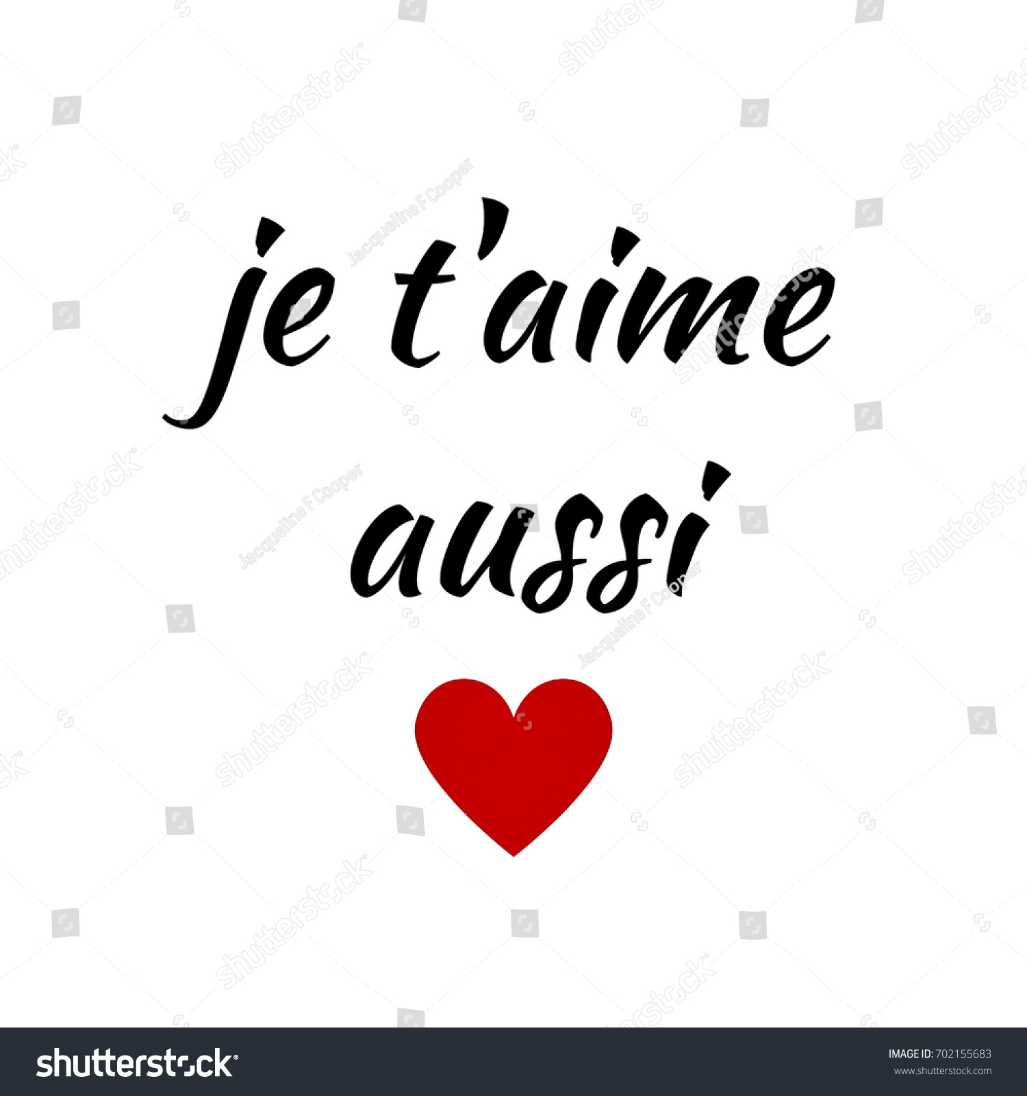 quote je taime aussi french love stock illustration 702155683 shutterstock. Black Bedroom Furniture Sets. Home Design Ideas