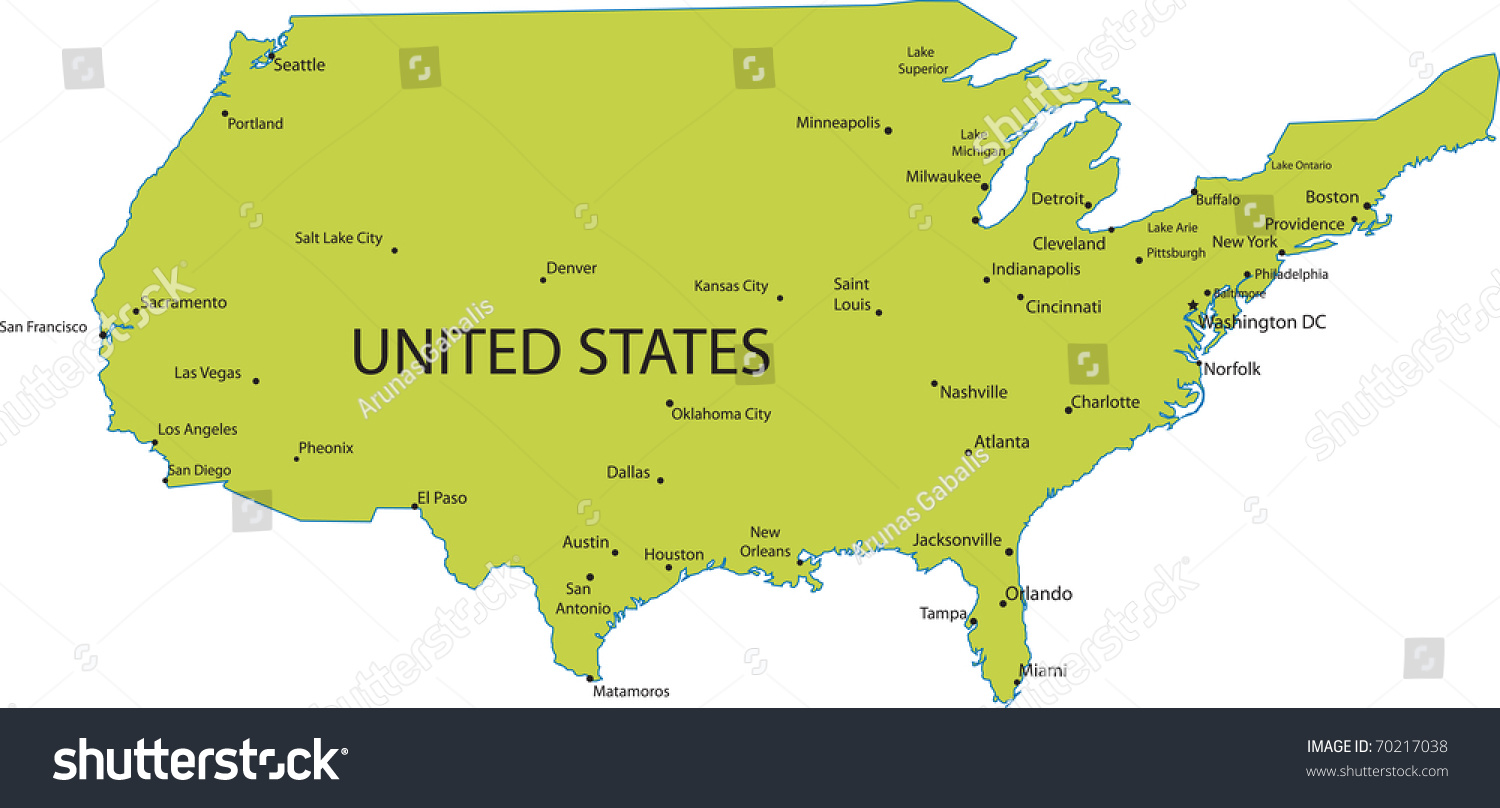 Map united states america major cities stock vector for United states of america cities
