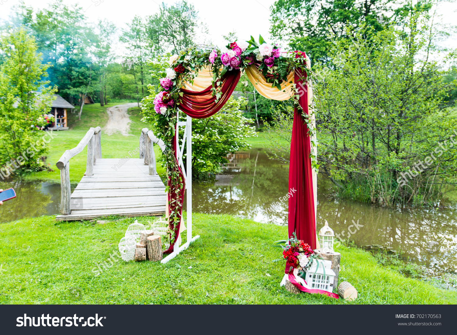 Wedding Arch Flowers Decor Peaceful Place Stock Photo (Royalty Free ...