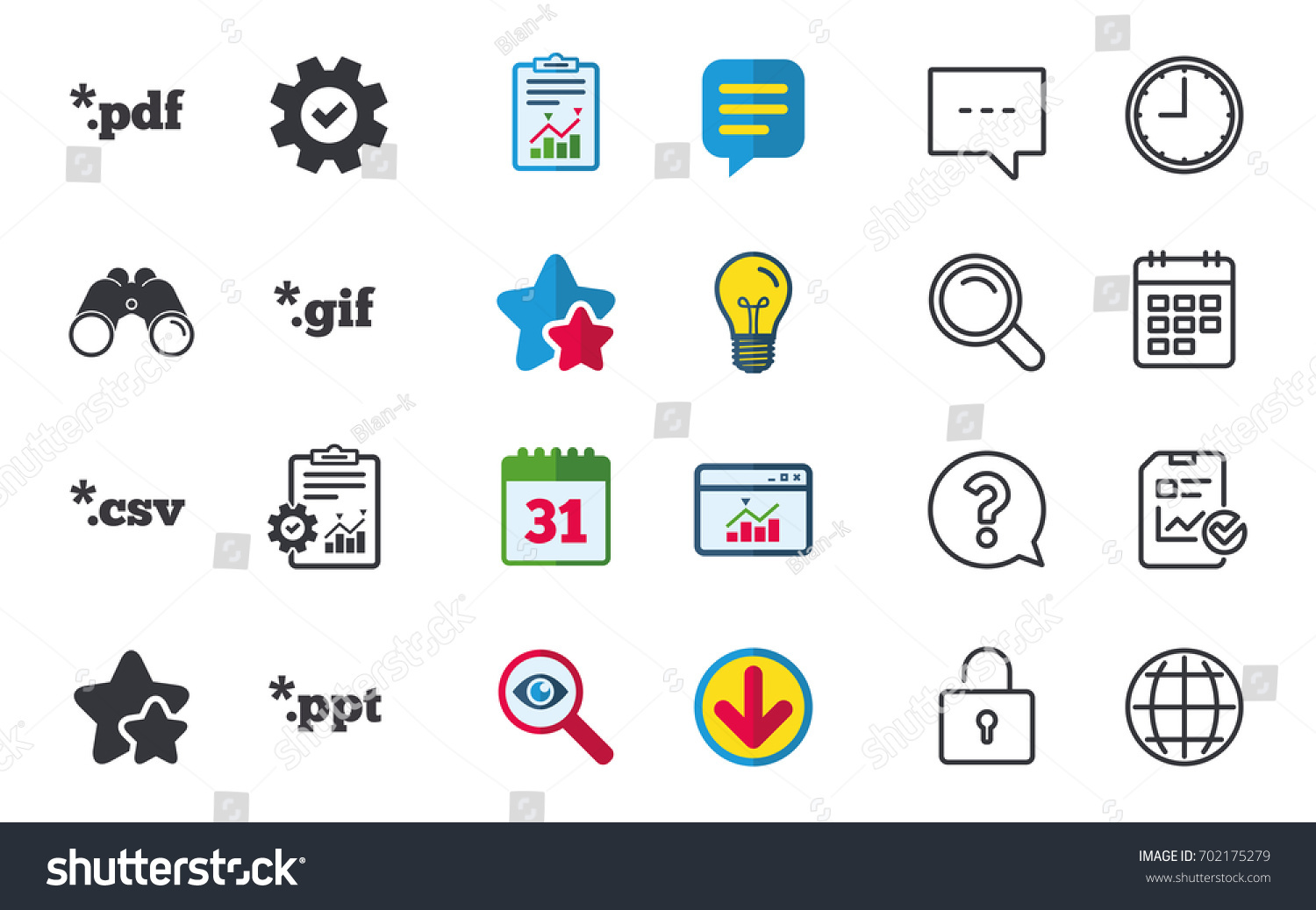 document icons file extensions symbols pdf stock vector 702175279, Powerpoint templates