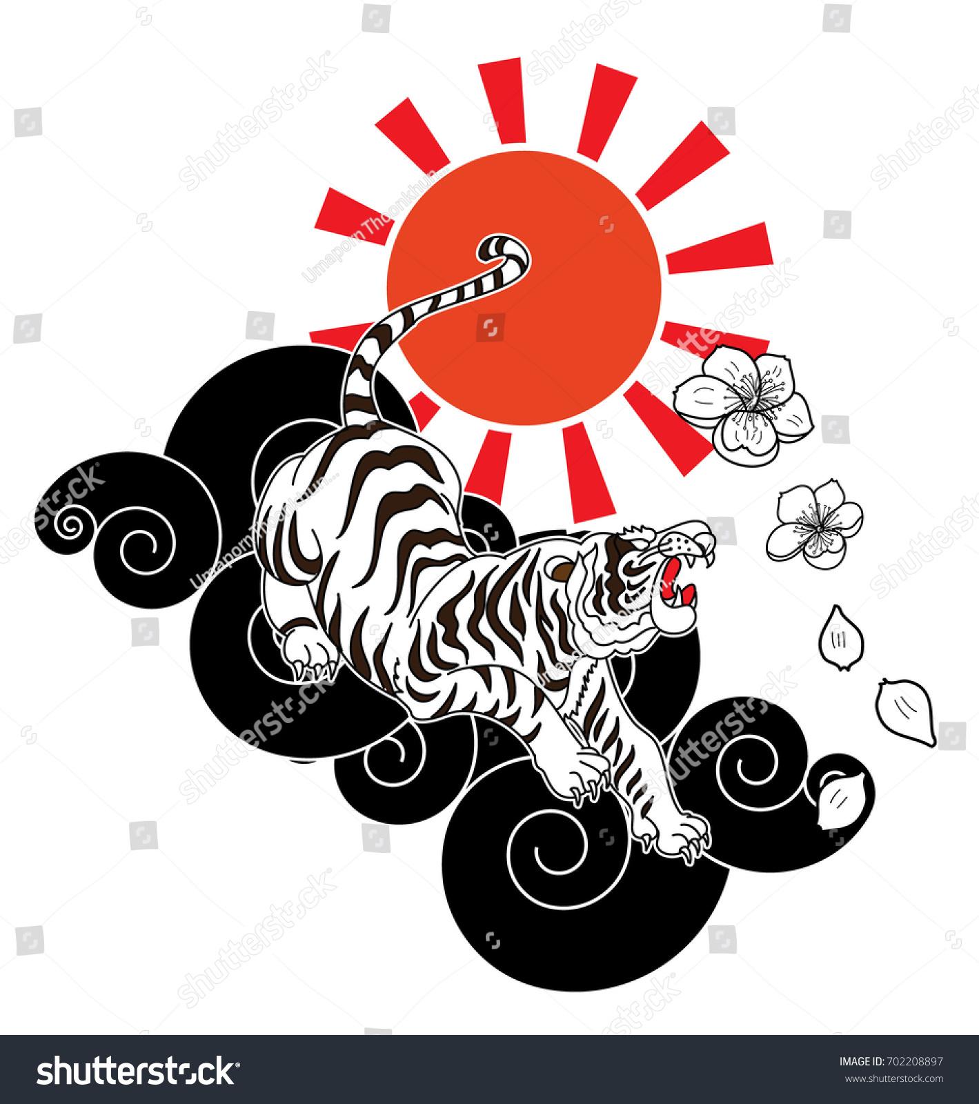 Traditional Japanese Tiger Tattoo Sakura Flower Stock Vector ...