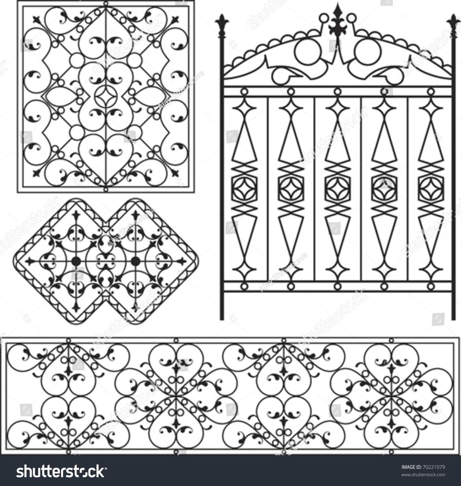 Wrought Iron Gate Door Fence Window Stock Vector 70221079