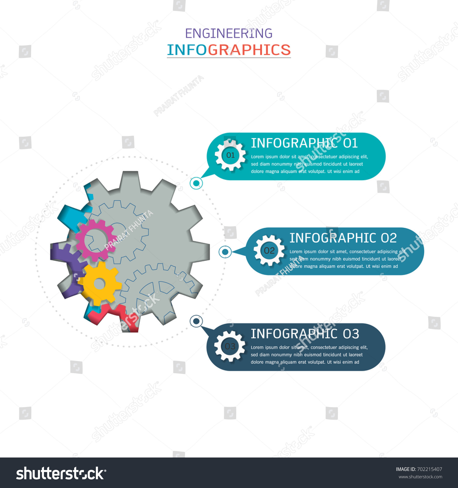 Gears Infographic Template Business Presentation Strategic Stock ...