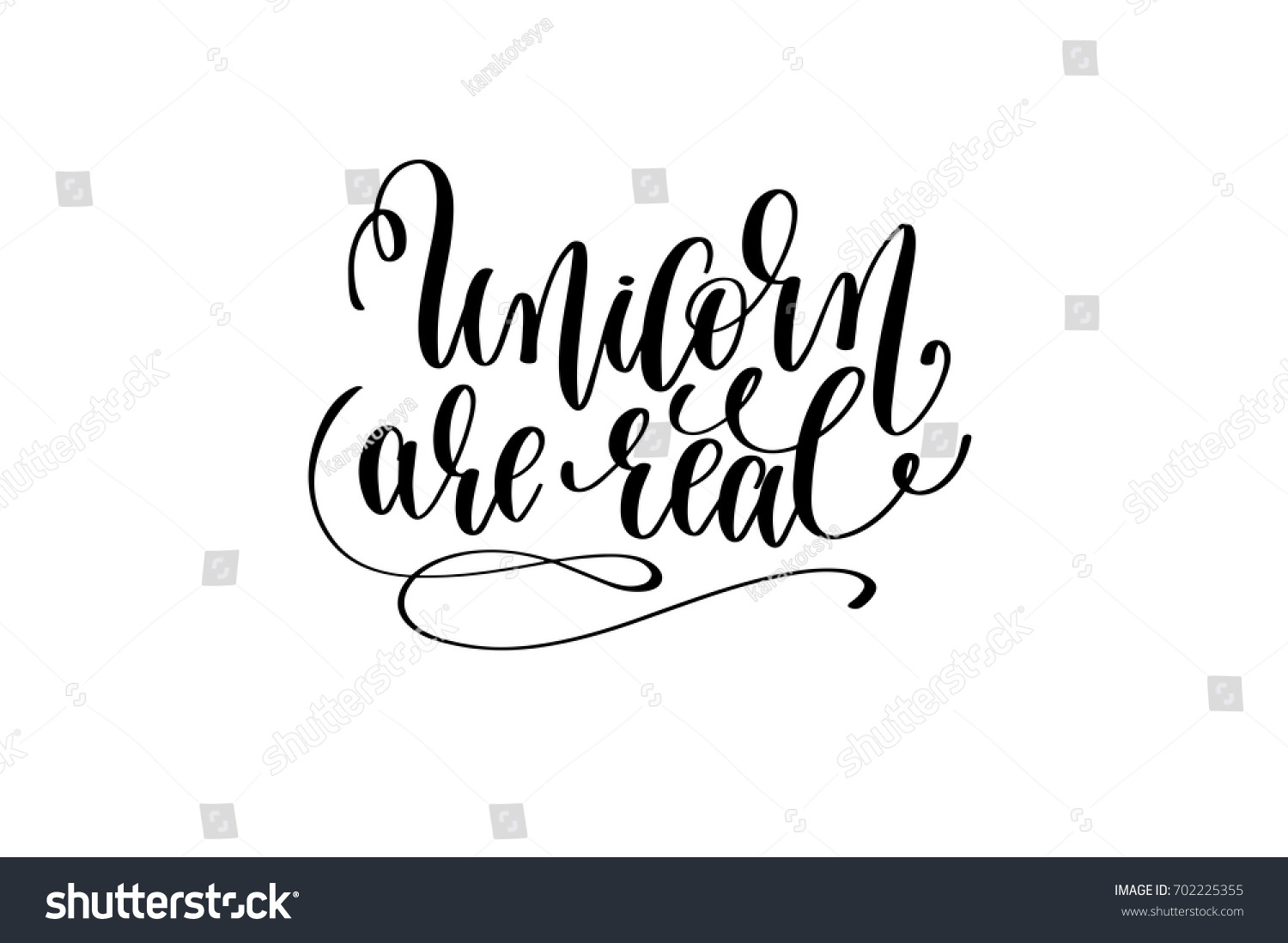 Unicorn real black white handwritten lettering stock
