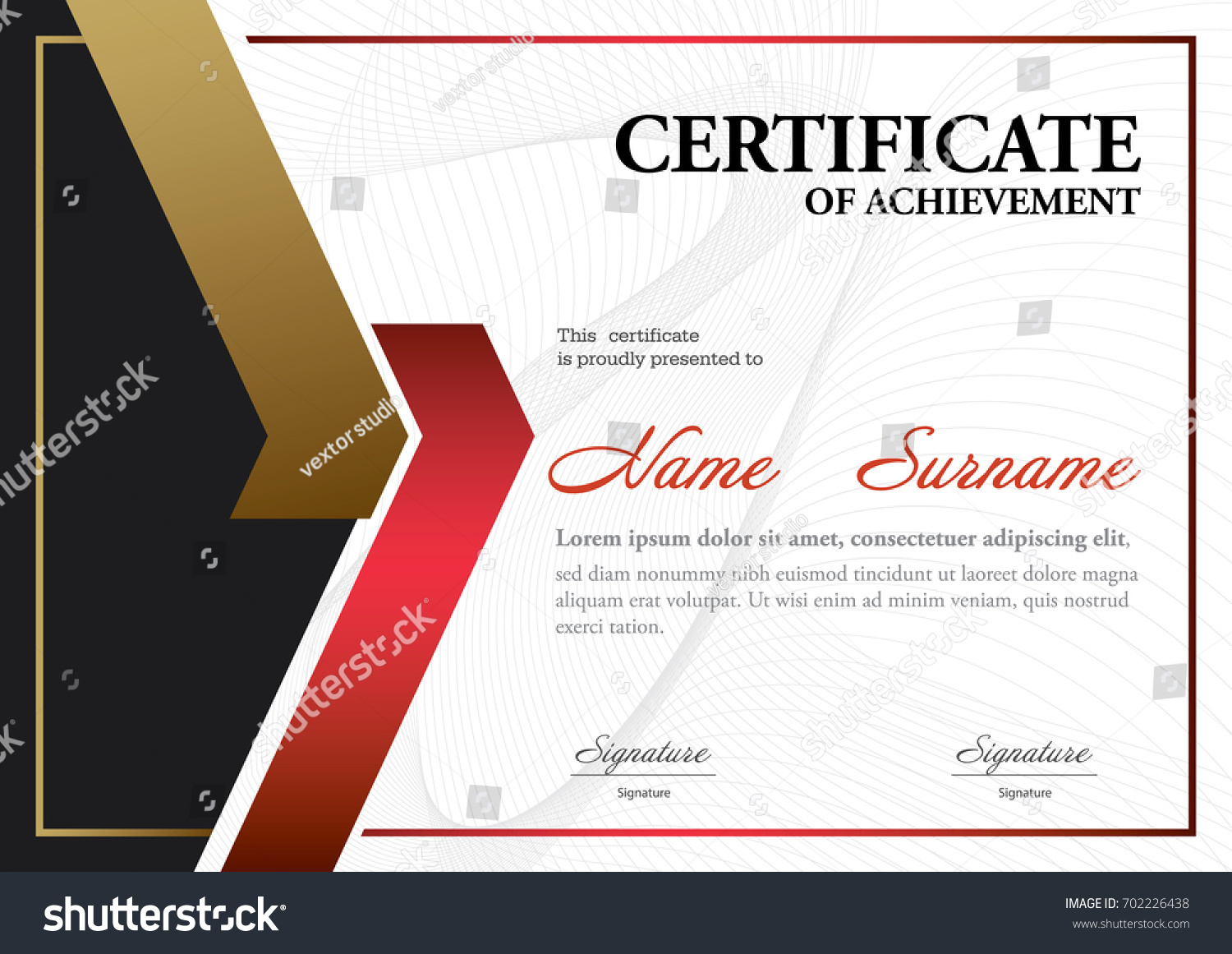 Certificate Template A 4 Size Diploma Vector Illustration Stock