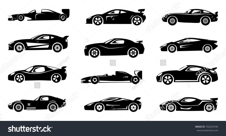 Black Silhouette Race Cars Sports Symbols Stock Vector 702243184