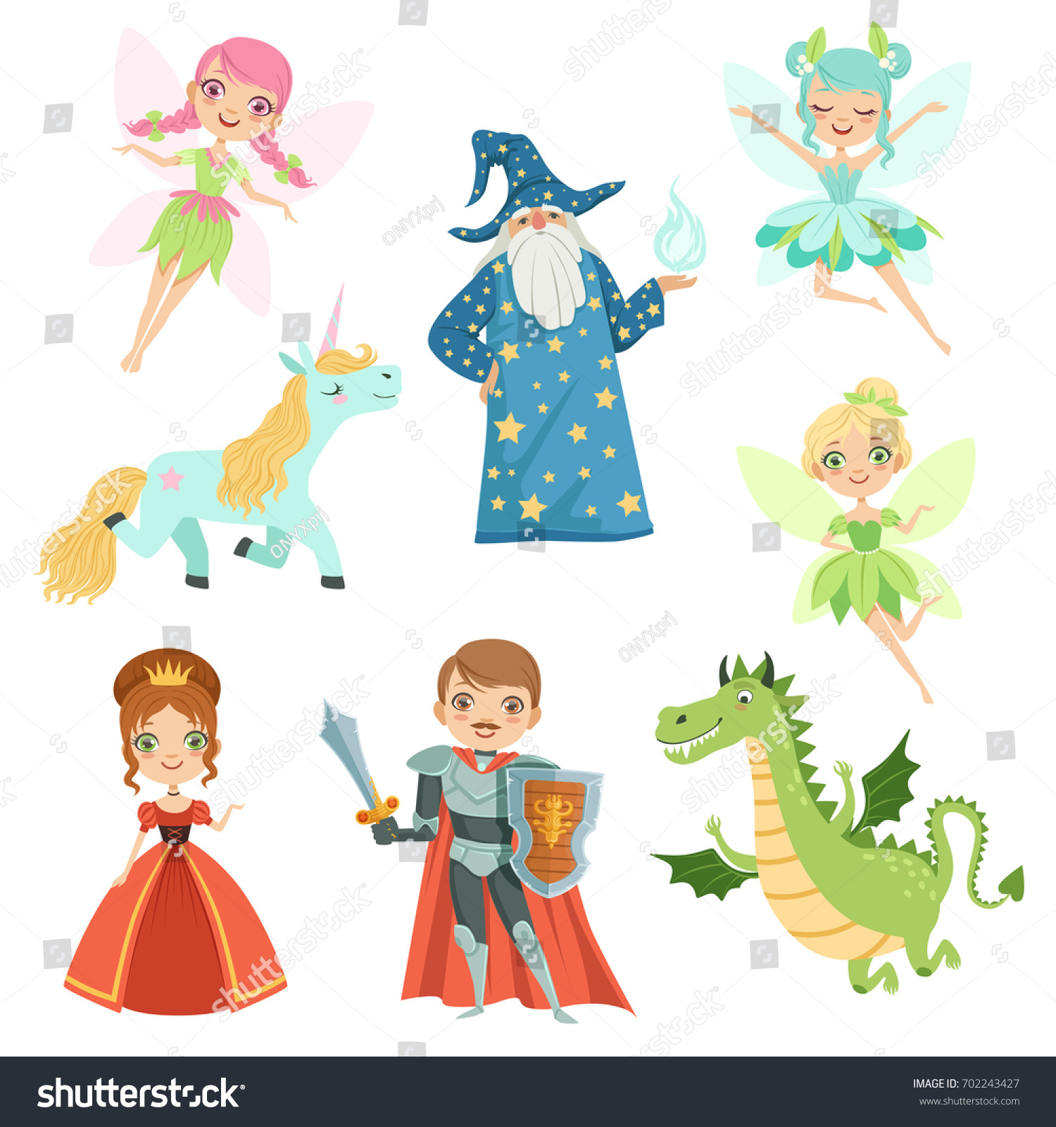 Fairytale Settings: Fairytale Characters Set Different Costumes Princess Stock
