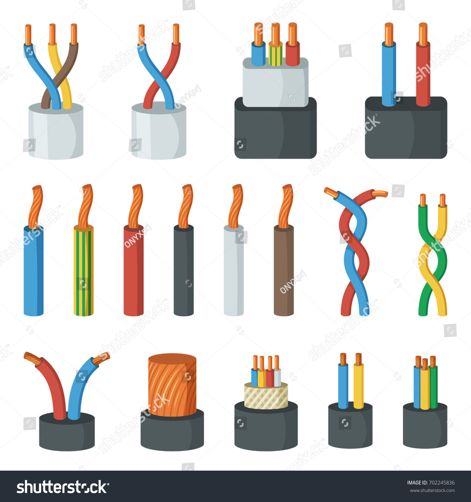 Electrical Cable Wires Different Amperage Colors Stock Vector ...