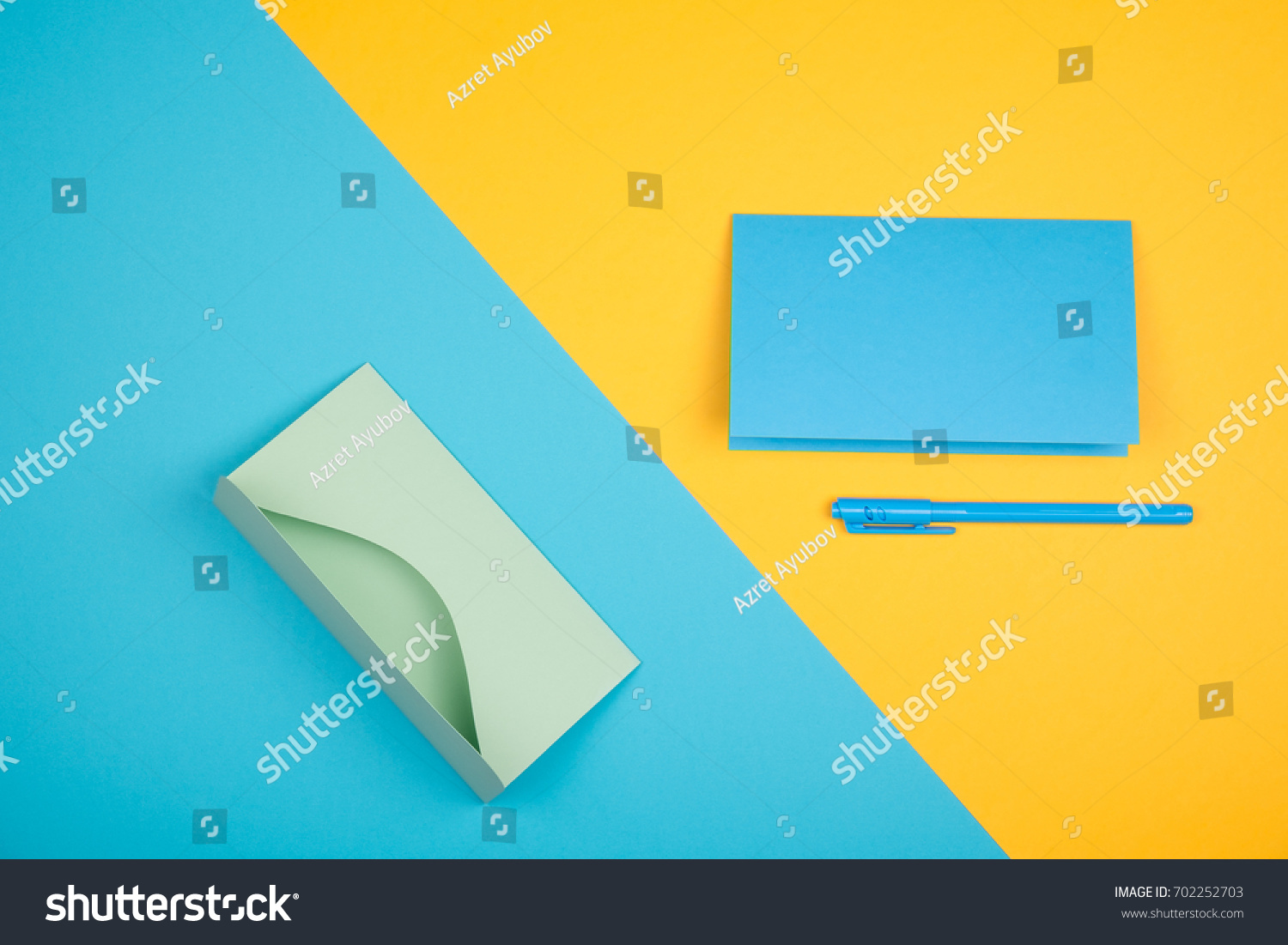 Empty Blue Greeting Cards Pen Green Stock Photo Edit Now 702252703