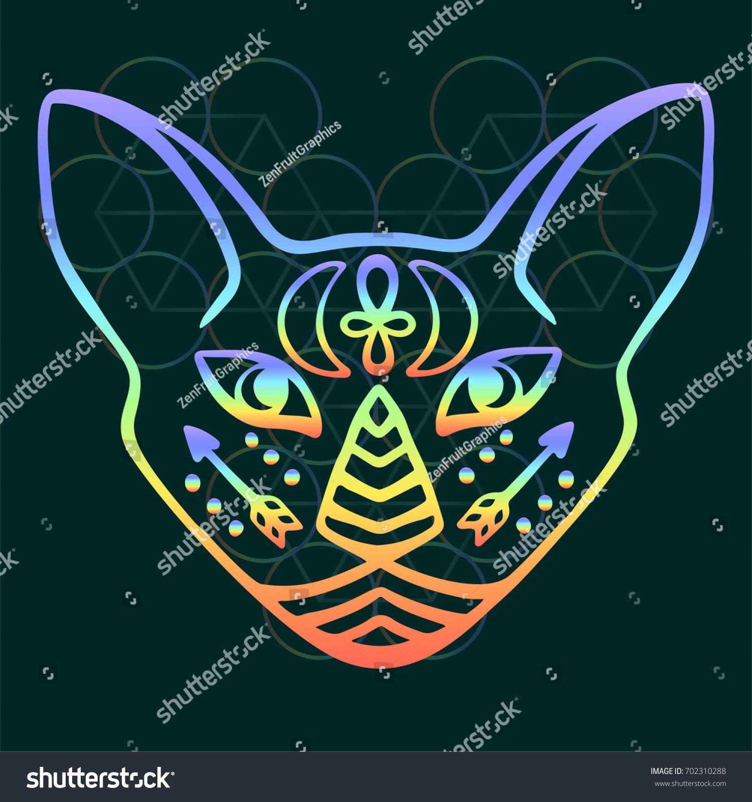 Rainbow Cat Face Vector Sacred Animal Stock Photo Photo Vector
