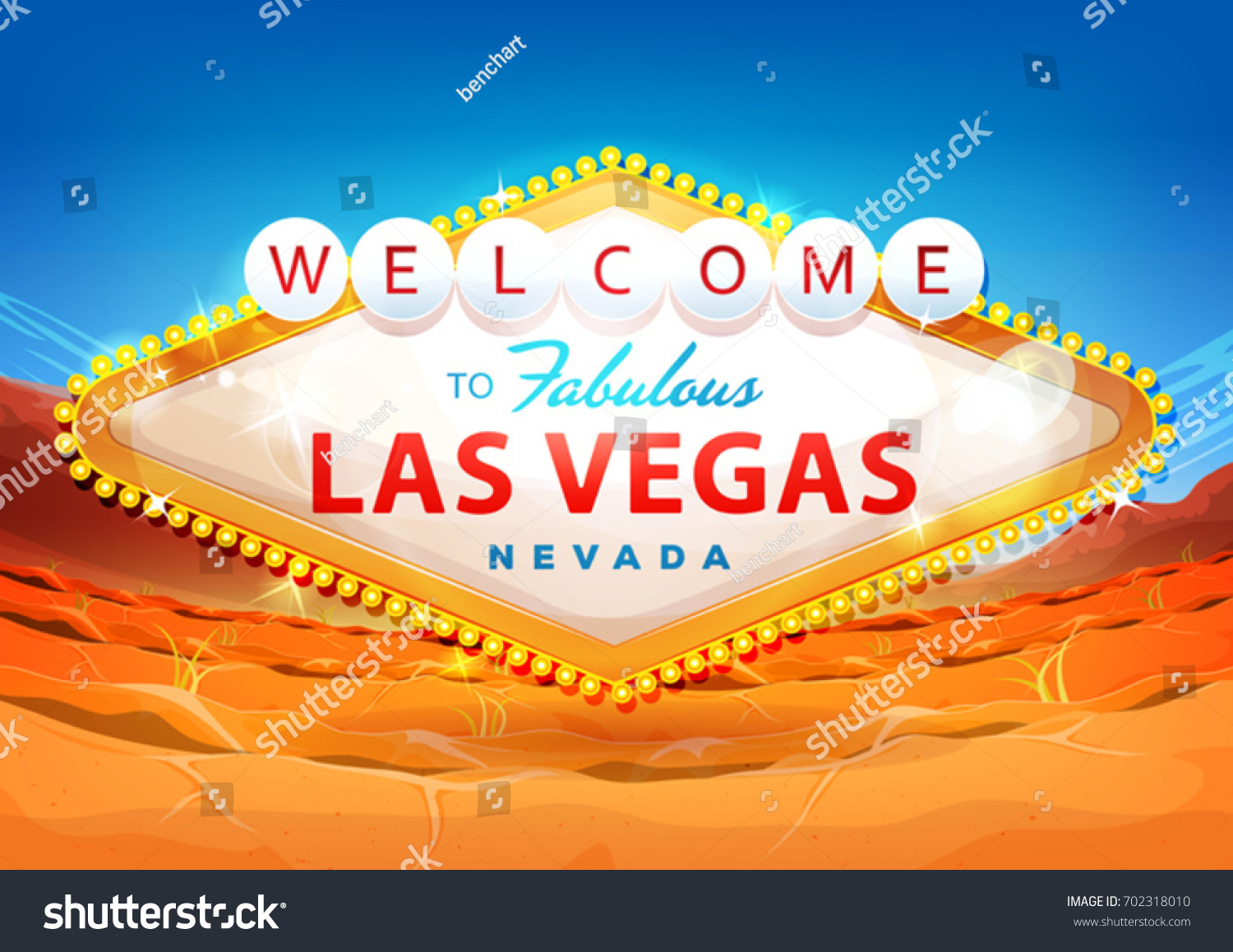 Welcome Las Vegas Sign On Desert Stock Vector (Royalty Free) 702318010