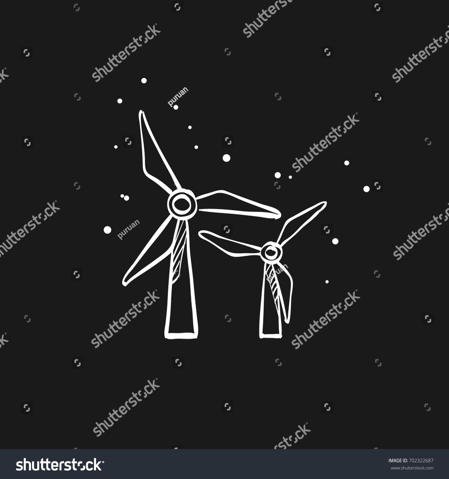 Wind Turbine Icon Doodle Sketch Lines Stock Vector