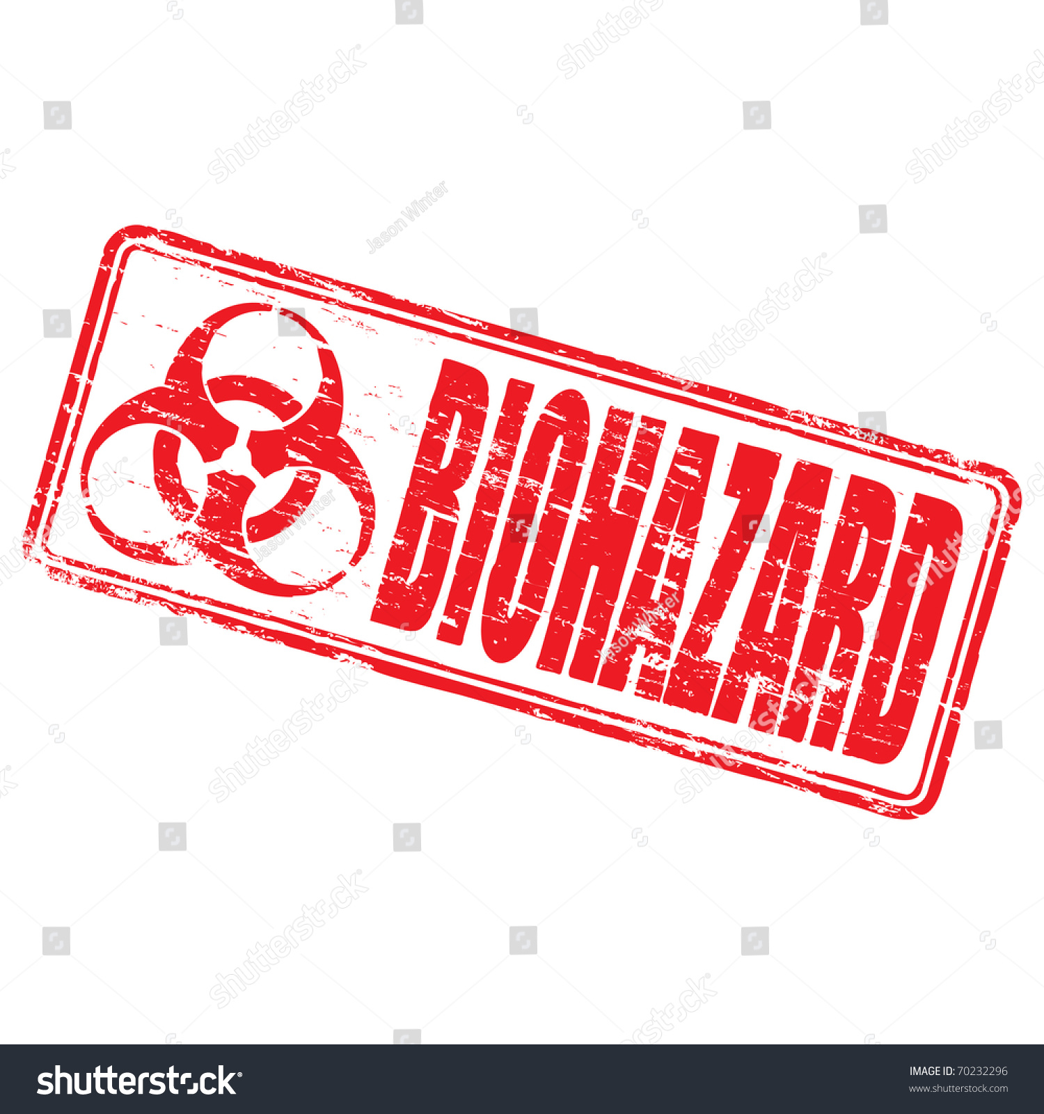 Rubber Stamp Illustration Showing Biohazard Text Stock Illustration