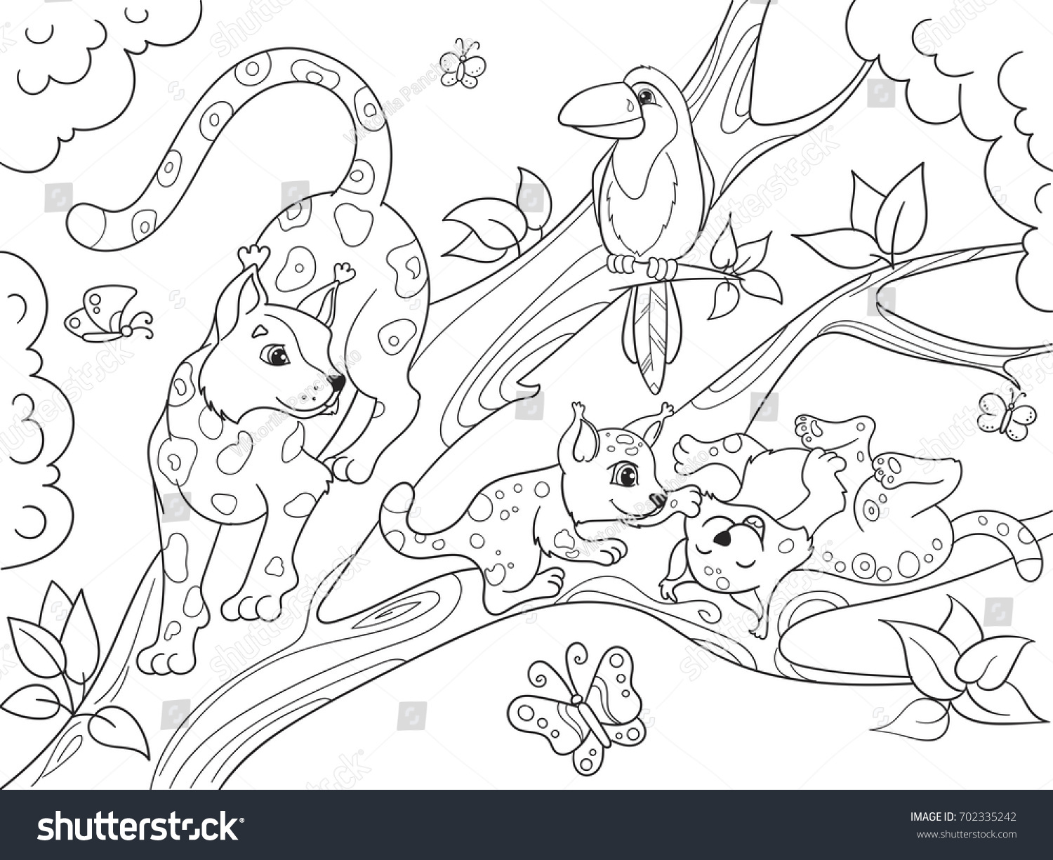 Jungle Forest With Animals Cartoon Raster Illustration Zentangle Style Black And White