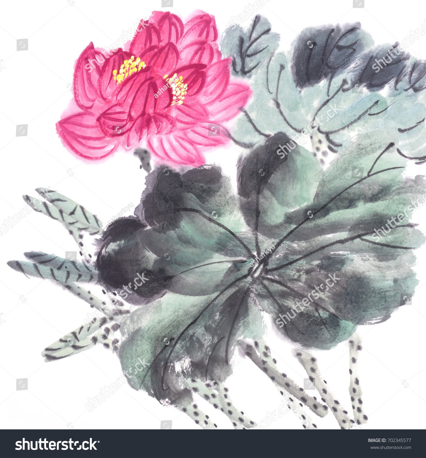 Lotus Flower Chinese Watercolor Painting Stock Illustration