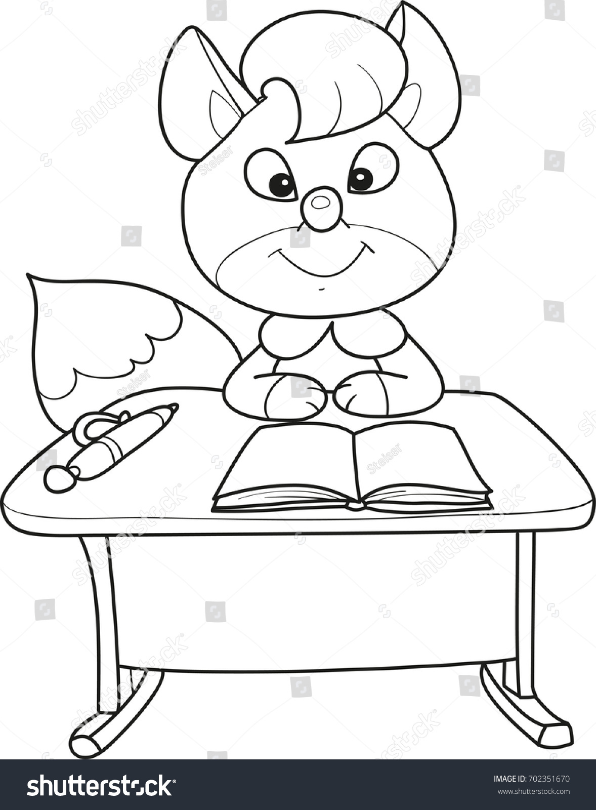 Coloring Page Outline Of Cartoon Little Fox Sitting At School Desk With Pen And Notebook