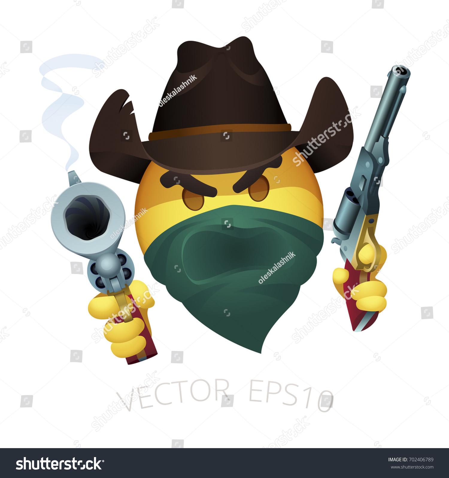 Smiley Cowboy Bandit Leather Western Hat Stock-Vektorgrafik ...