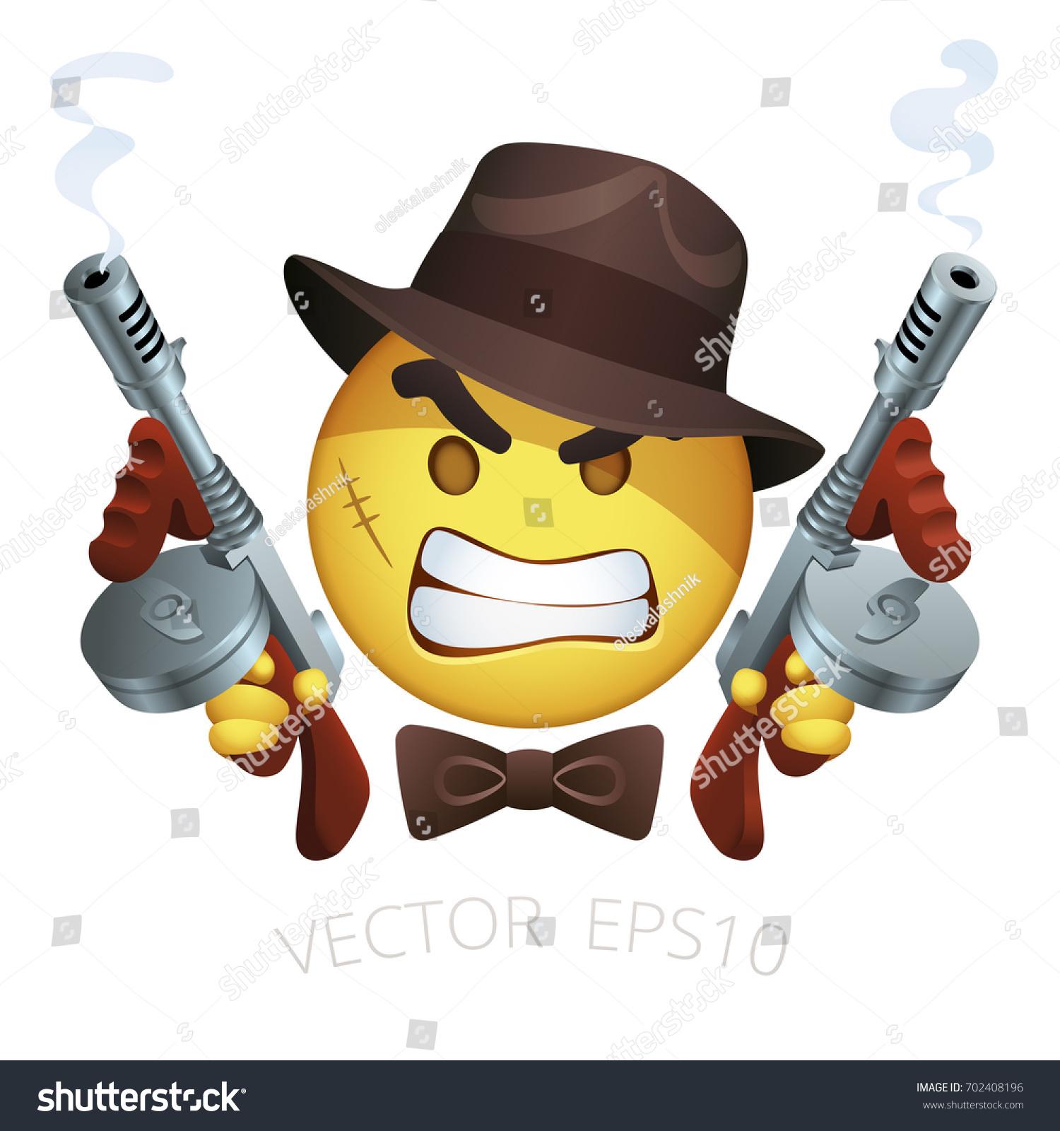 Vector Gangster Smiley Thompson Machine Guns Stock Vector 702408196 ...