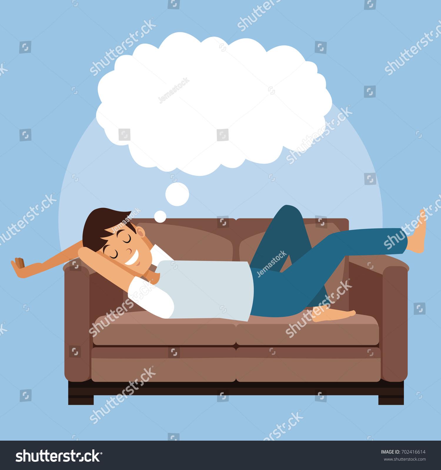 Colorful Scene Man Sleep Sofa Cloud Stock Vector
