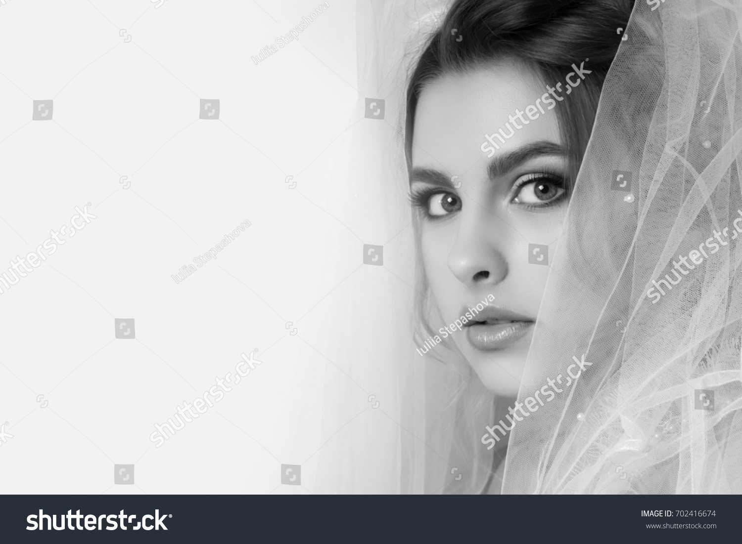 Beautiful Young Woman Bride Wedding Hairstyle Stock Photo 702416674 ...
