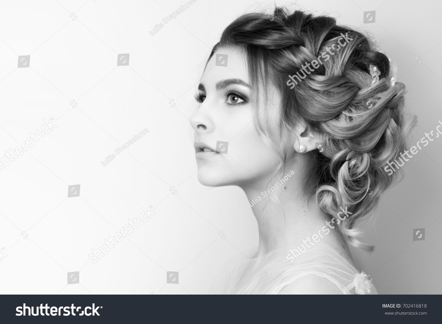Beautiful Young Woman Bride Wedding Hairstyle Stock Photo 702416818 ...