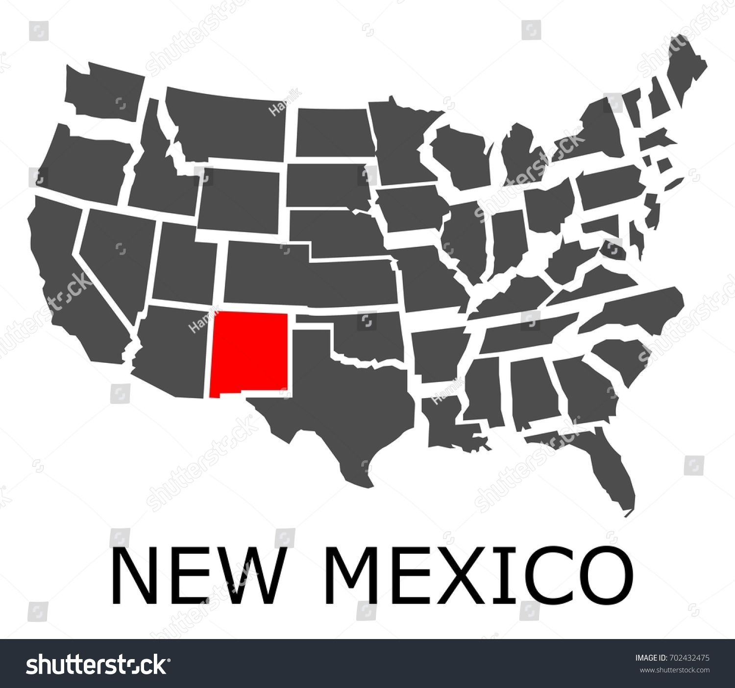 Bordering Map Usa State New Mexico Stock Vector - Map of usa new mexico